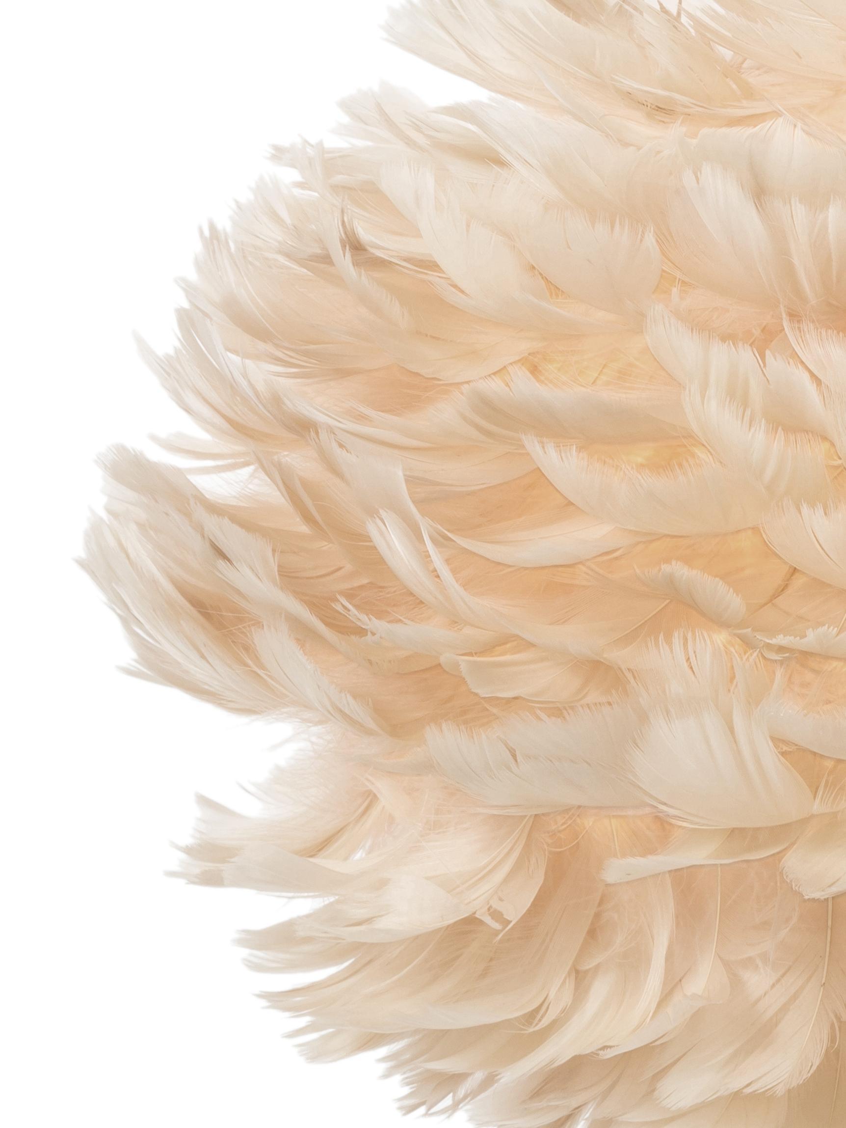 Suspension design plumes grises Eos, Beige, blanc