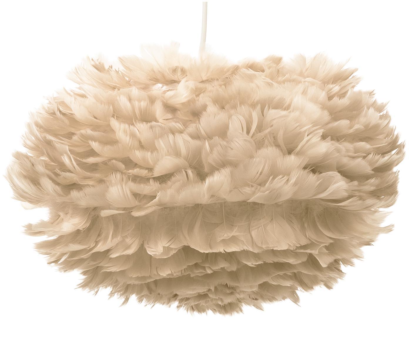 Hanglamp Eos van veren, Lampenkap: ganzenveren, staal, Beige, wit, Ø 45 x H 30 cm