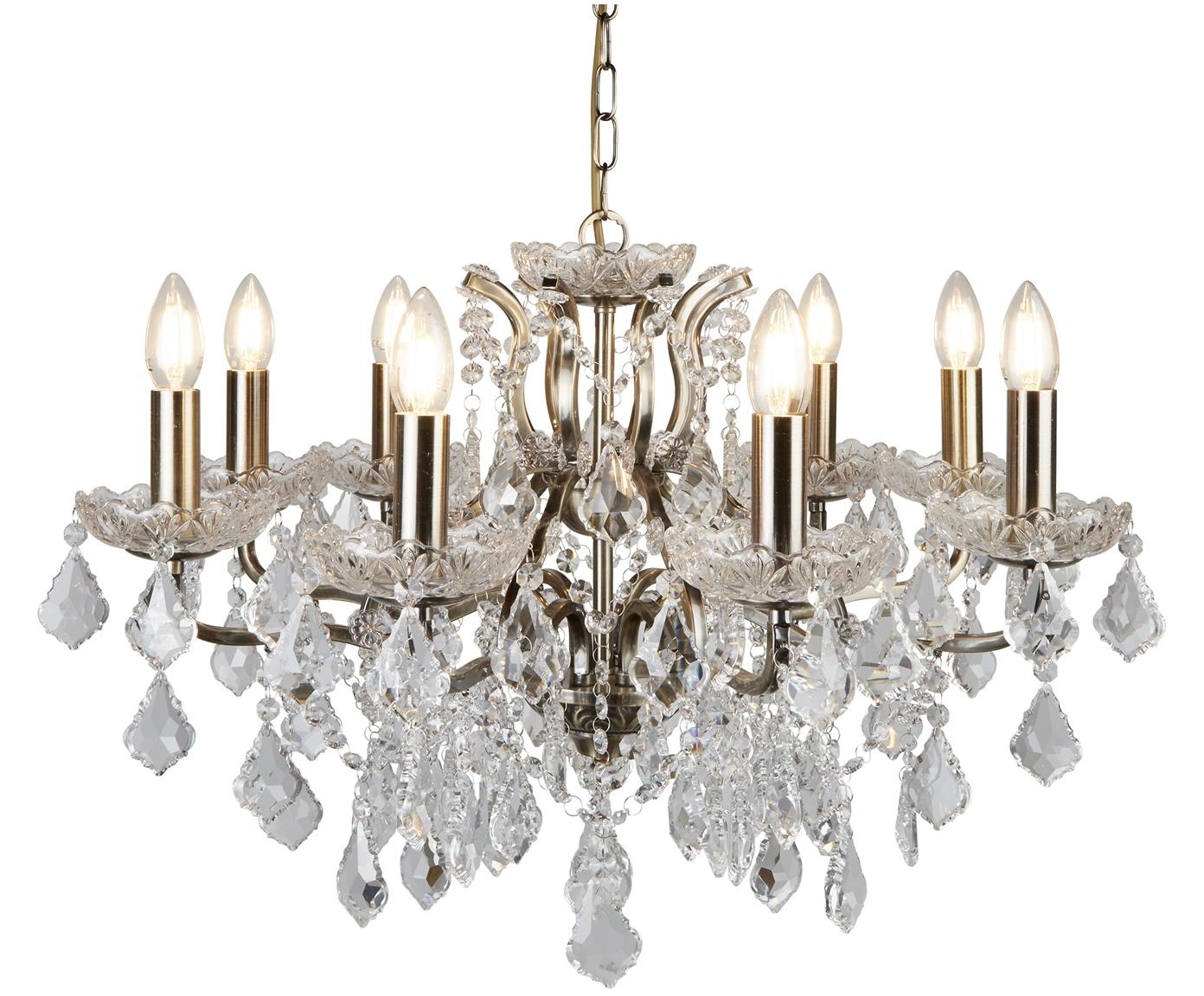 Lámpara de araña Paris, Adornos: vidrio, Oro, transparente, Ø 70 x Al 43 cm