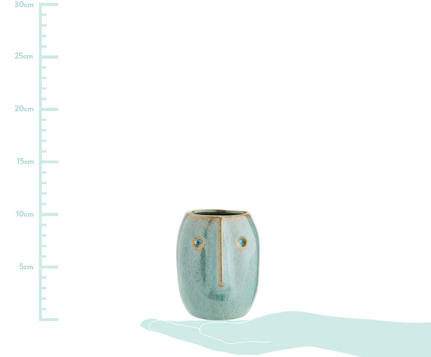 Übertopf Face, Steingut, Hellgrün, Beige, Ø 8 x H 10 cm