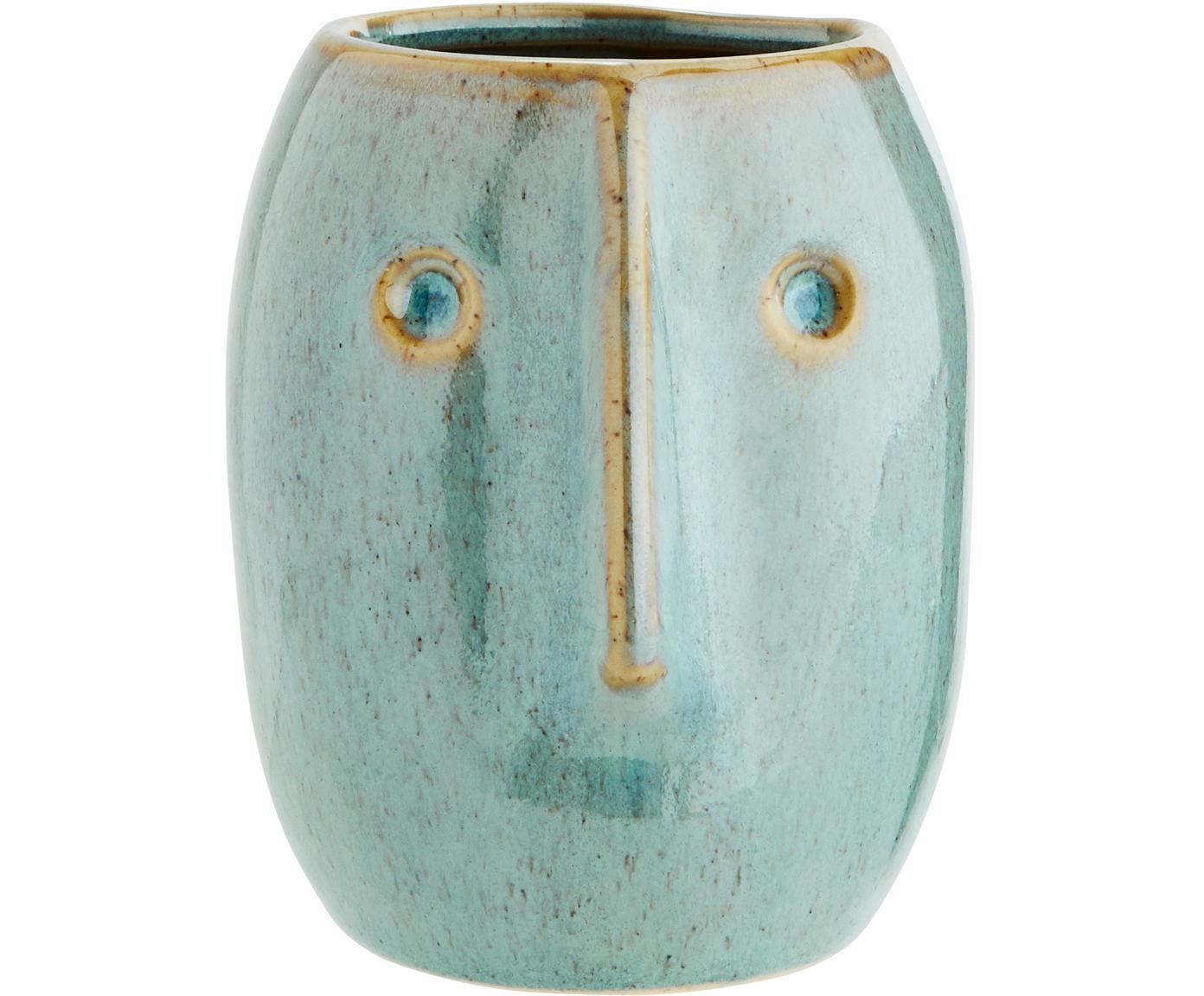 Portavaso Face, Terracotta, Verde chiaro, beige, Ø 8 x Alt. 10 cm
