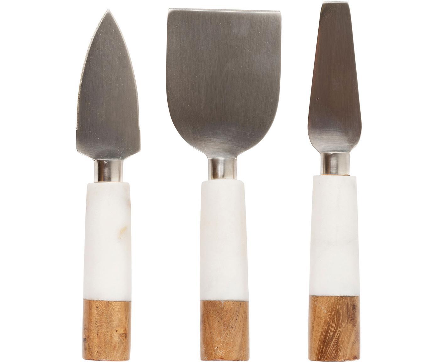 Set de cuchillos de queso en mármol Nevada, 3pzas., Acero inoxidable, mármol, madera, Beige, blanco, L 21 cm