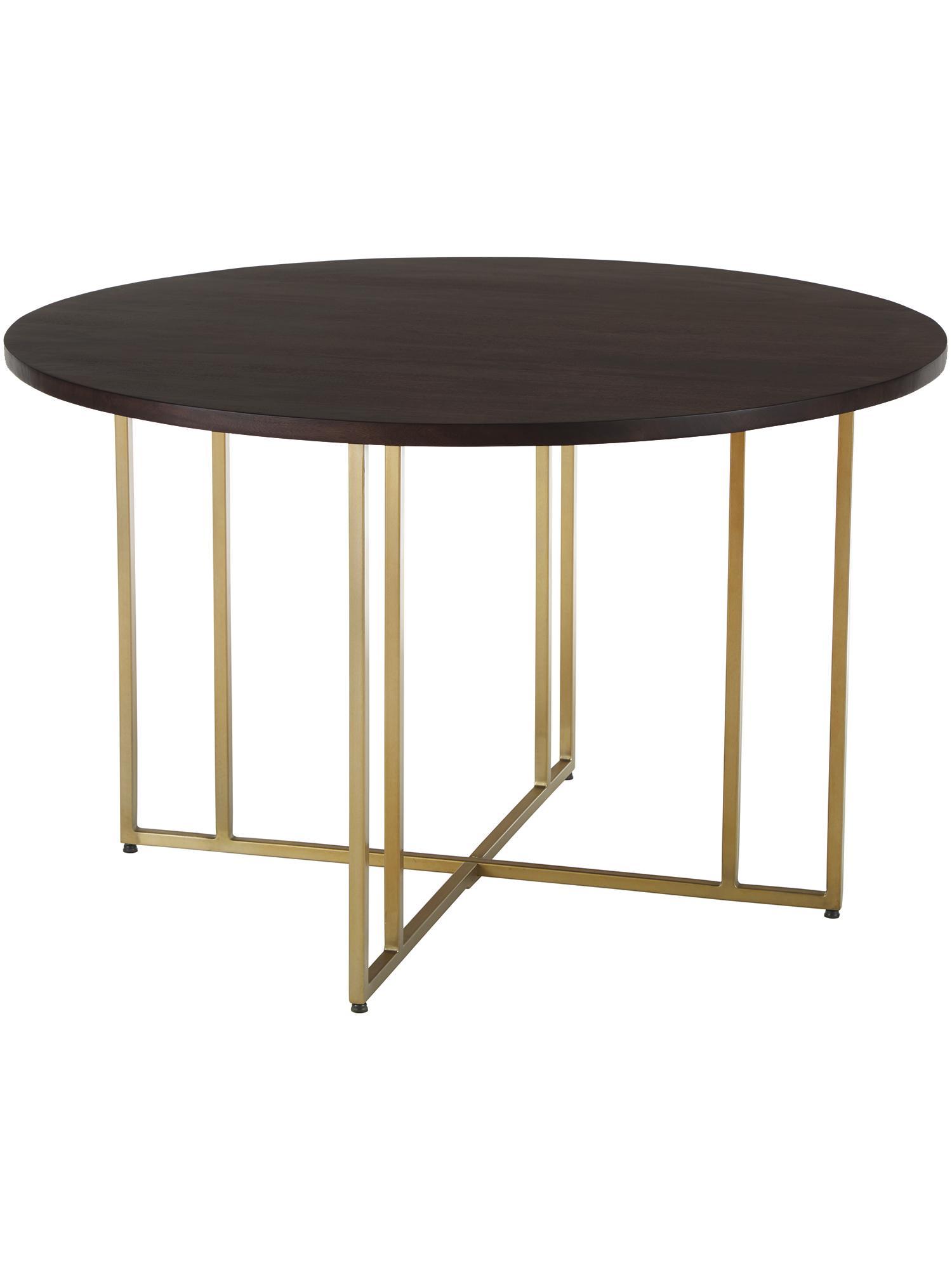 Okrągły stół do jadalni z litego drewna Luca, Blat: lite drewno mangowe, laki, Stelaż: metal powlekany, Blat: drewno mangowe, ciemny, lakierowany Stelaż: odcienie złotego, Ø 120 x W 75 cm