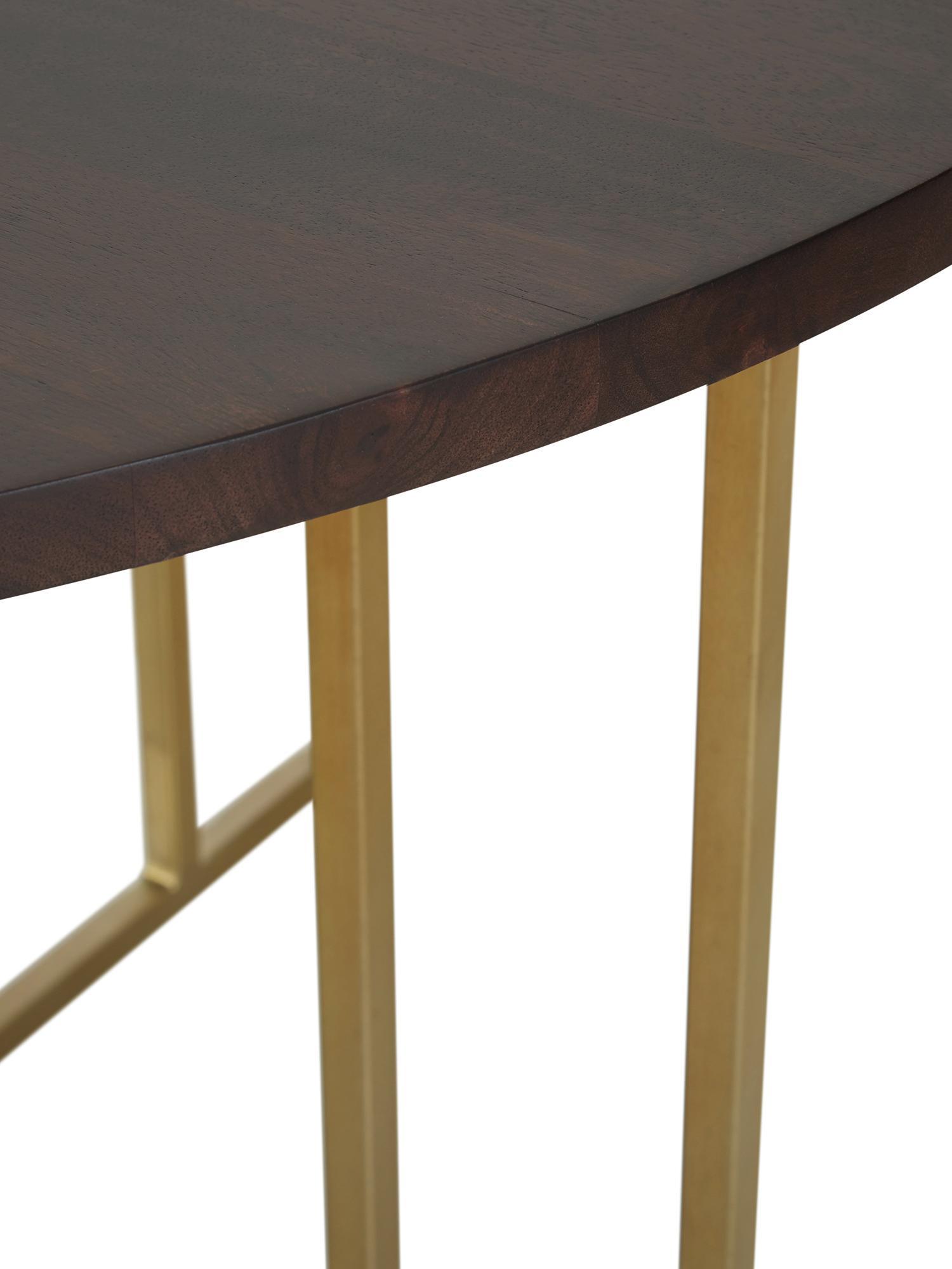 Ronde massief houten eettafel Luca in bruin, Tafelblad: massief mangohout, gebors, Frame: gepoedercoat metaal, Tafelblad: donker gelakt mangohout. Frame: goudkleurig, Ø 120 x H 75 cm