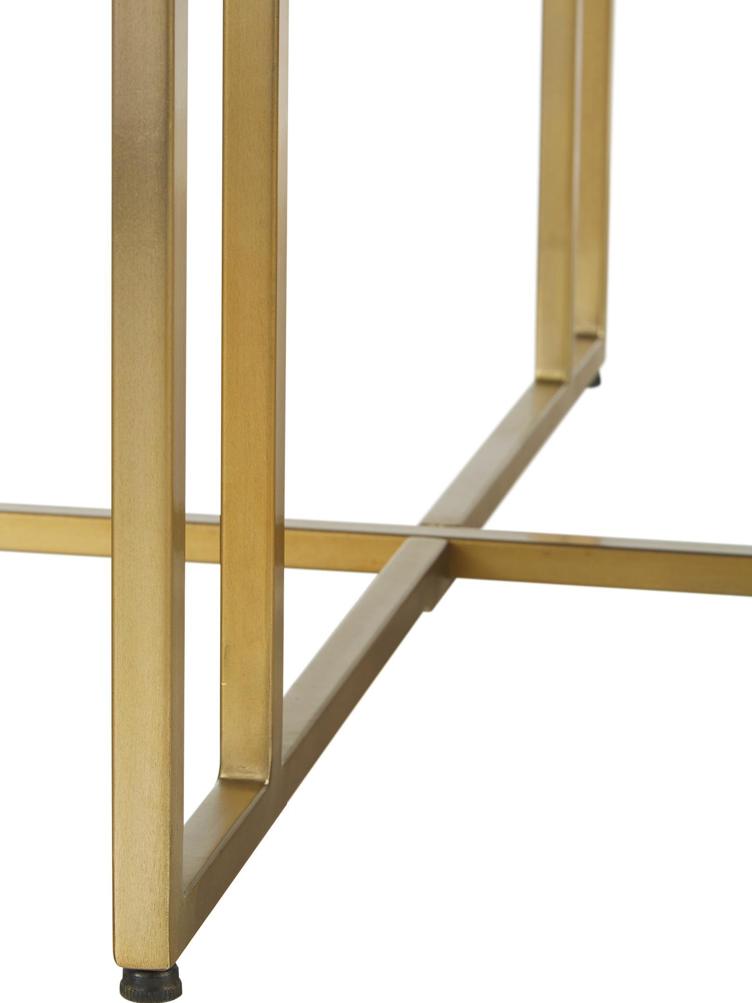 Mesa de comedor redonda de madera maciza Luca, Tablero: madera de mango maciza ce, Estructura: metal con pintura en polv, Madera oscura, dorado, Ø 120 x Al 75 cm
