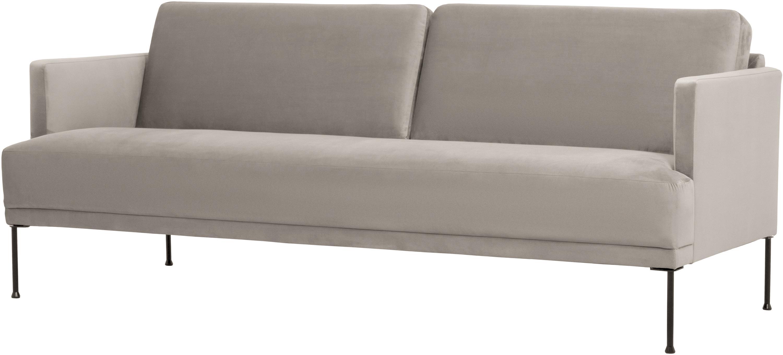 Samt-Sofa Fluente (3-Sitzer), Bezug: Samt (Hochwertiger Polyes, Gestell: Massives Kiefernholz, Füße: Metall, pulverbeschichtet, Samt Beige, B 196 x T 85 cm
