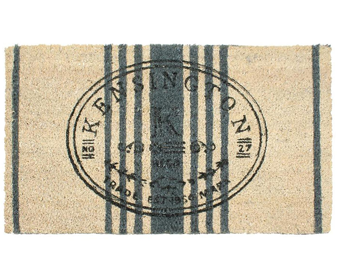 Felpudo Kensington, Parte superior: fibras de coco, Reverso: PVC, Beige, verde oscuro, negro, An 40 x L 70 cm