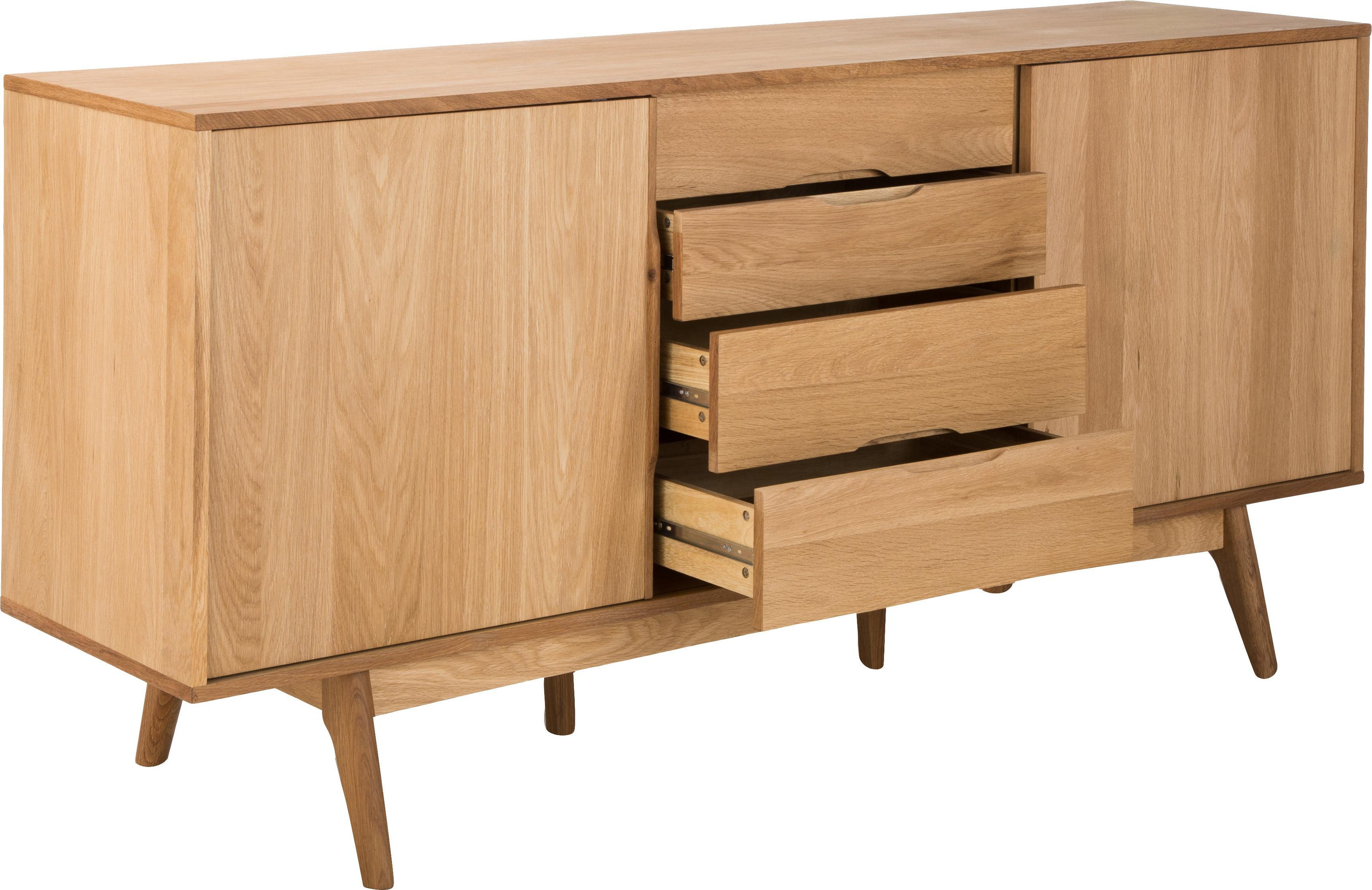 Sideboard Bettina mit Eichenholzfurnier, Korpus: Mitteldichte Holzfaserpla, Füße: Eiche massiv, geölt, Braun, 180 x 84 cm