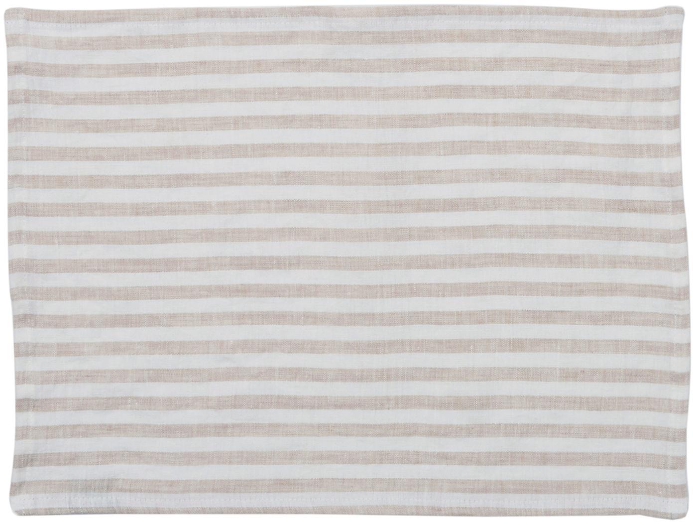 Leinen Tischsets Solami, 2 Stück, Leinen, Beige, Weiß, 35 x 45 cm