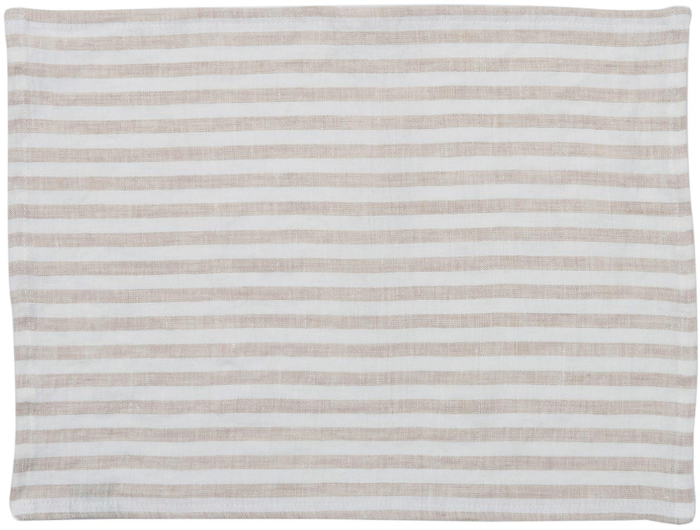 Manteles individuales de lino Solami, 2uds., Lino, Beige, blanco, An 35 x L 45 cm