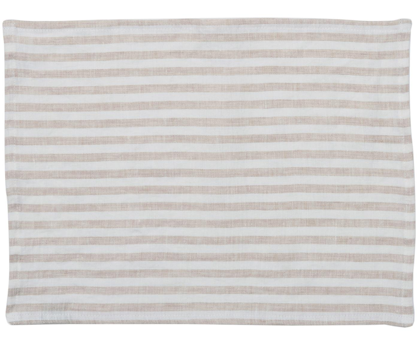 Leinen Tischsets Solami, 2 Stück, Leinen, Beige, Weiss, 35 x 45 cm