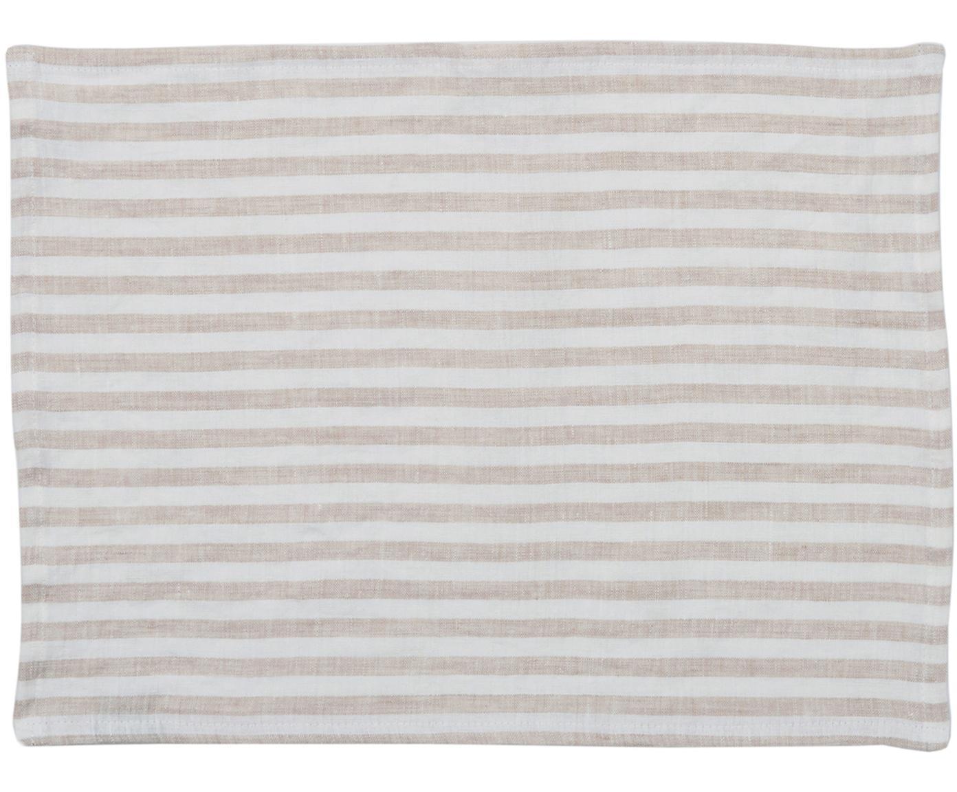 Tovaglietta americana in lino Solami 2 pz, Lino, Beige, bianco, Larg. 35 x Lung. 45 cm