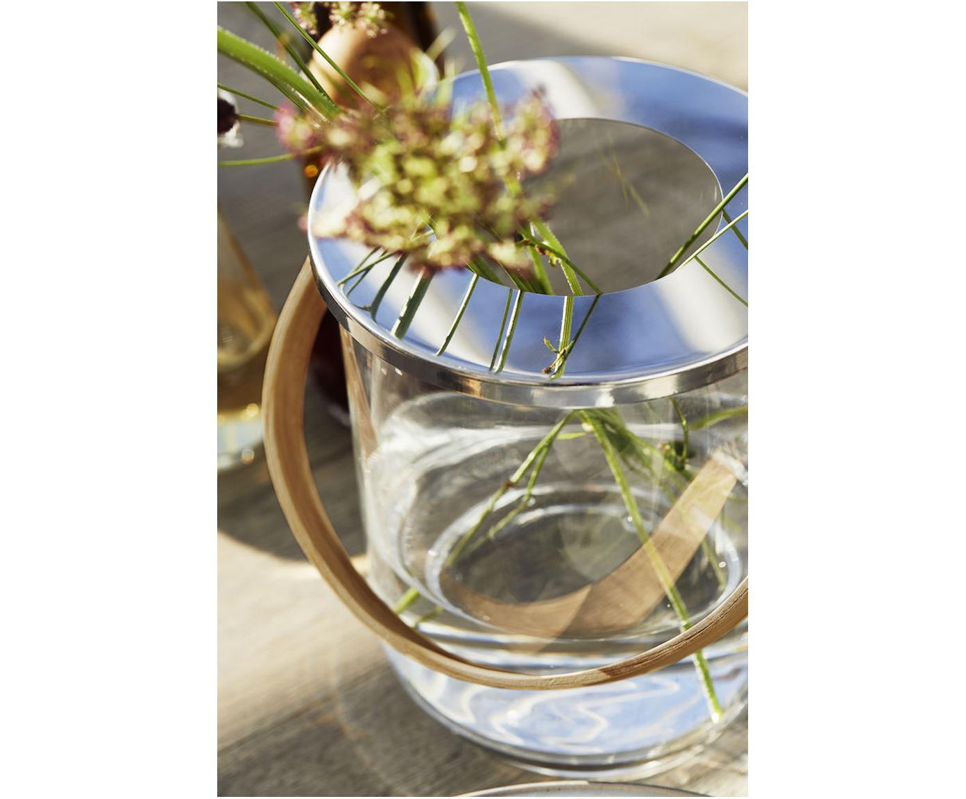 Windlicht Raphaela, Windlicht: Glas, Metall, Griff: Bambus, Transparent, Silberfarben, Bambus, Ø 19 x H 23 cm