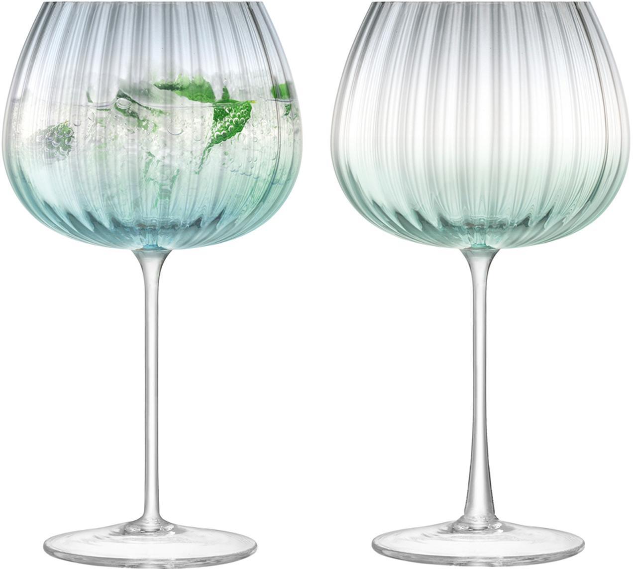 Handgemachte Weingläser Dusk mit Farbverlauf, 2er-Set, Glas, Grün, Grau, Ø 10 x H 20 cm