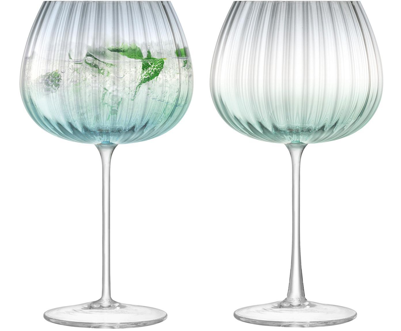 Komplet ręcznie wykonanych kieliszków Dusk, 2 elem., Szkło, Zielony, szary, Ø 10 x W 20 cm