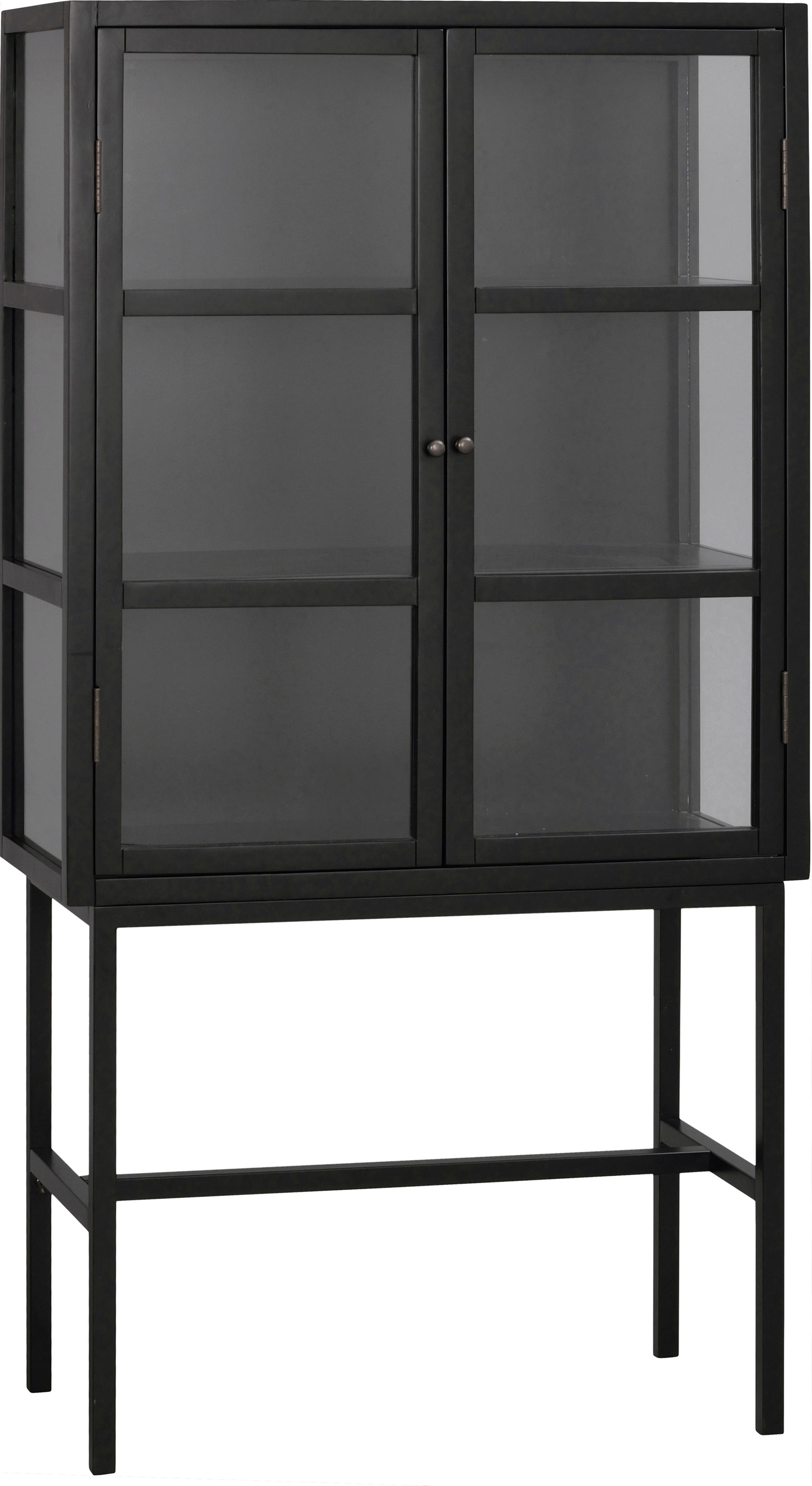 Vitrina Marshall, con patas de metal, Negro, transparente, An 85 x Al 160 cm
