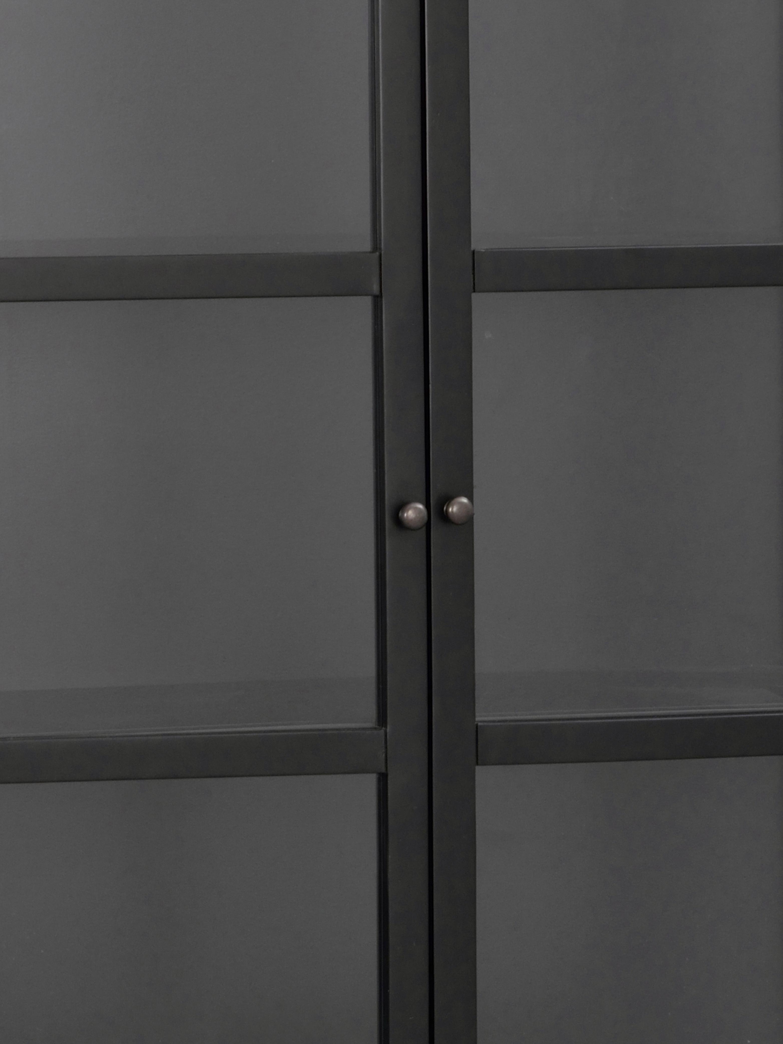 Prosklená vitrína zčerného kovu na vysokých nohách Marshalle, Černá, transparentní