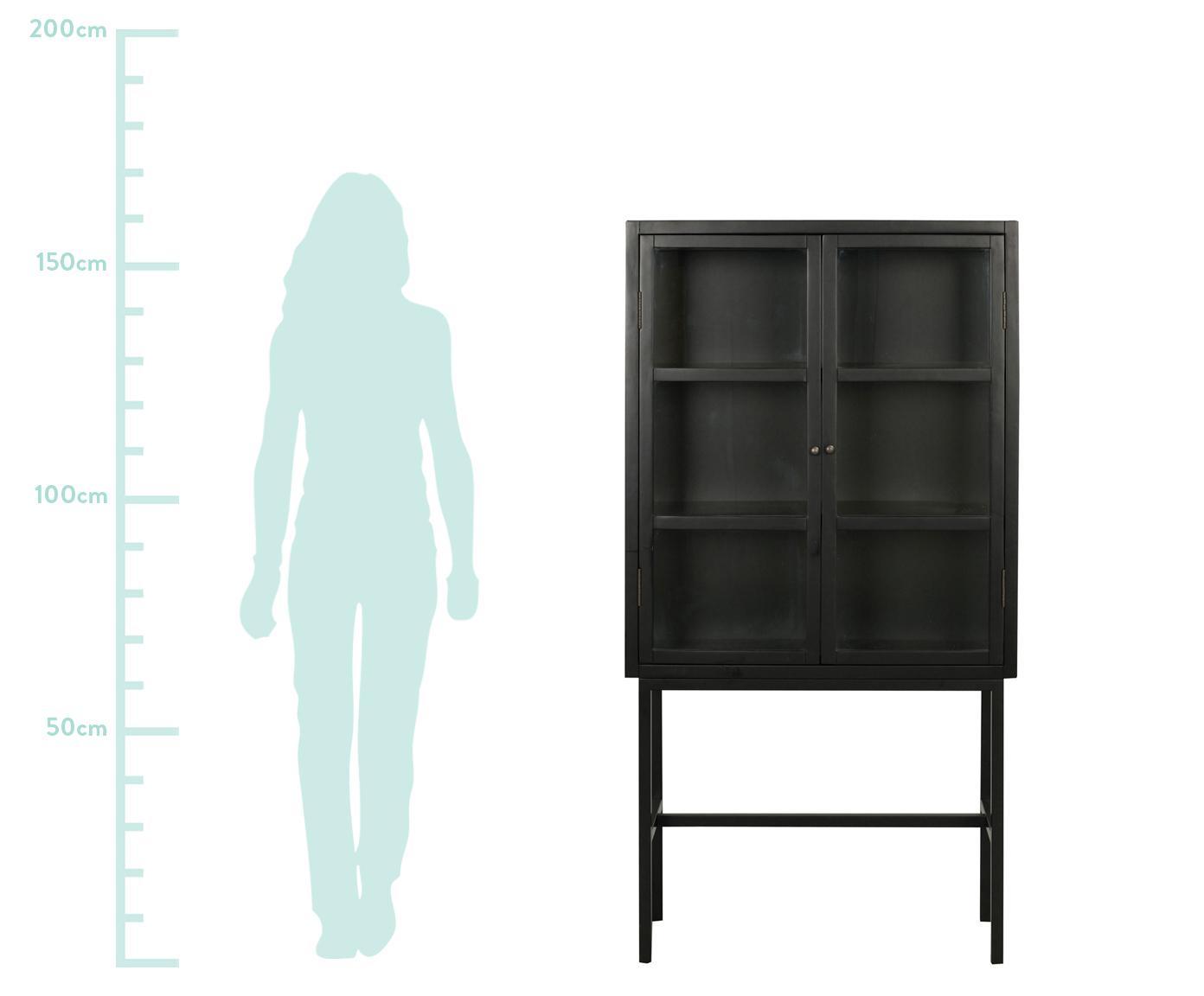 Glasvitrine Marshalle mit hohen Beinen aus schwarzem Metall, Front: Sicherheitsglas, Schwarz, Transparent, 85 x 160 cm