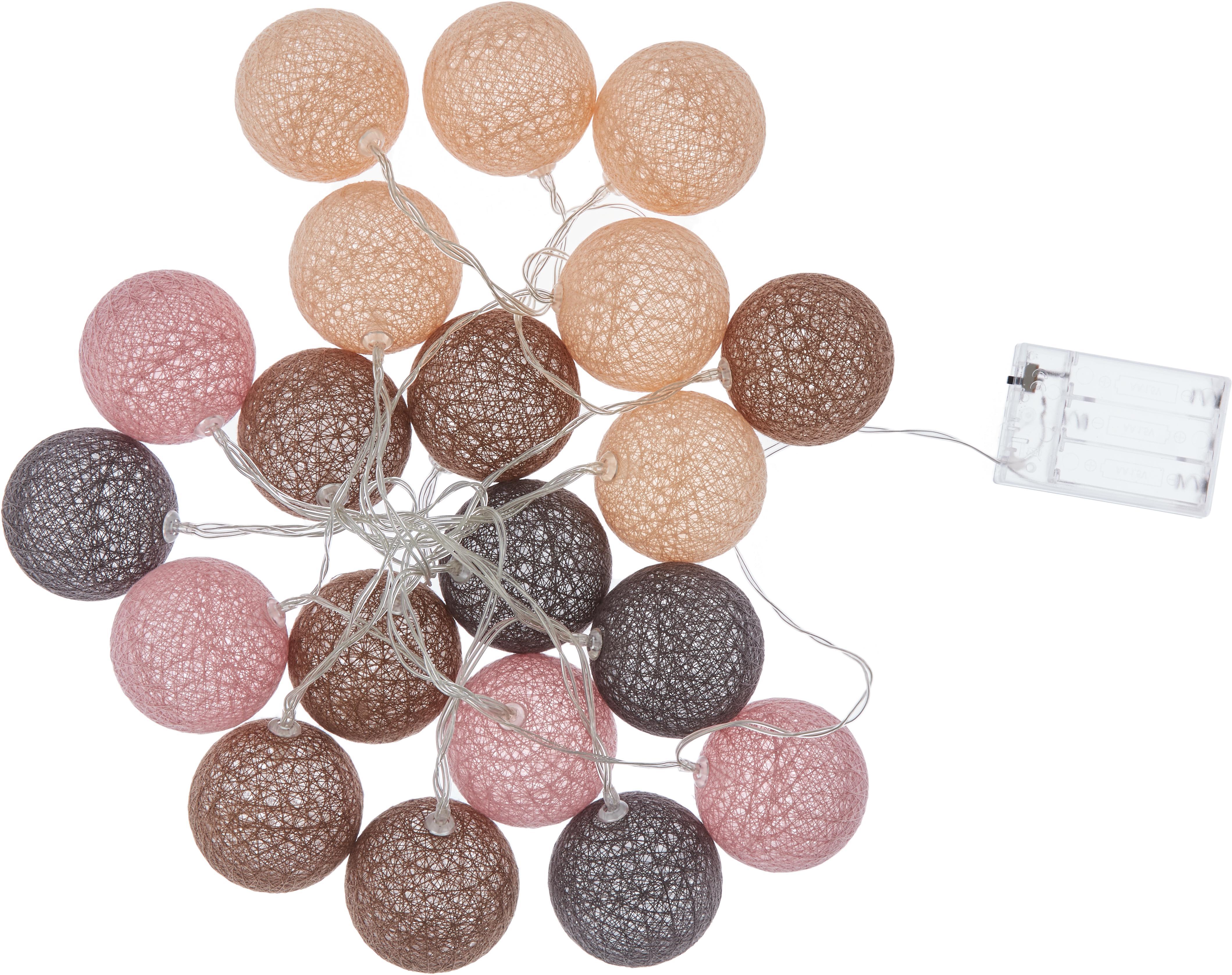 LED Lichterkette Bellin, 320 cm, Lampions: Baumwolle, Braun, Beige, Schwarz, Rosa, L 320 cm