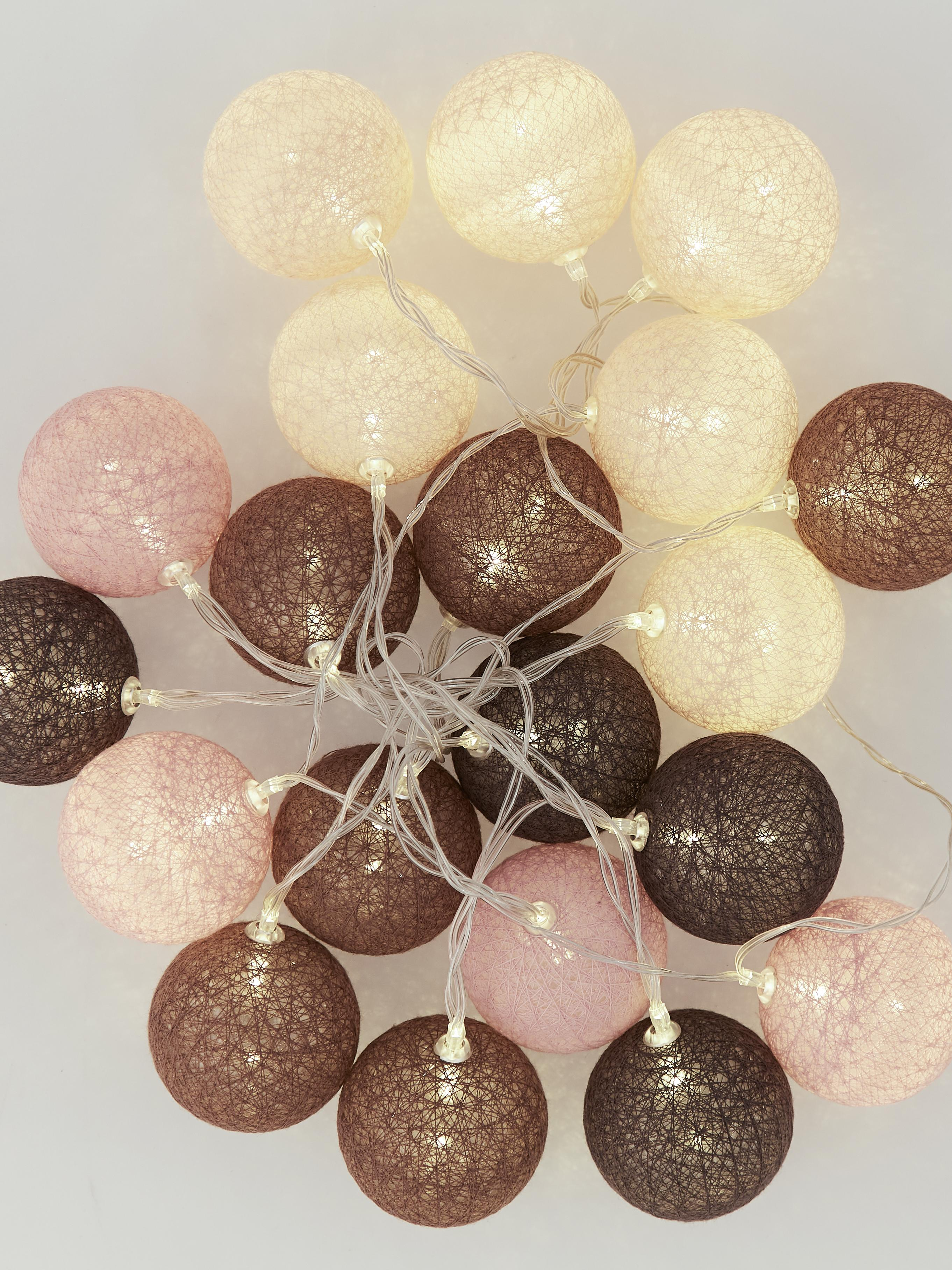 LED lichtslinger Bellin, Lampions: katoen, Bruin, beige, zwart, roze, L 320 cm