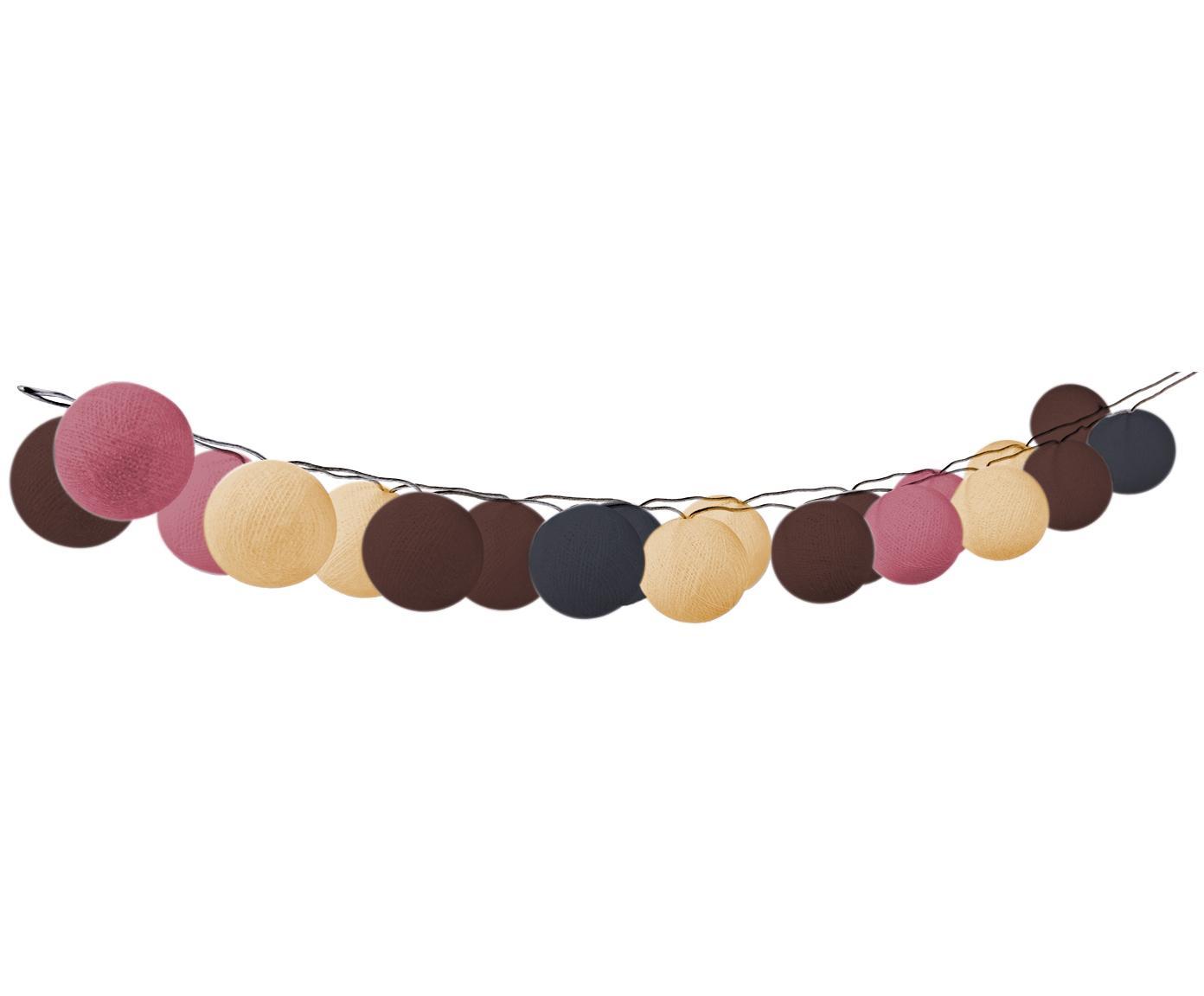 Guirnalda de luces LED Bellin, 320cm, Linternas: algodón, Cable: plástico, Marrón, beige, negro, rosa, L 320 cm