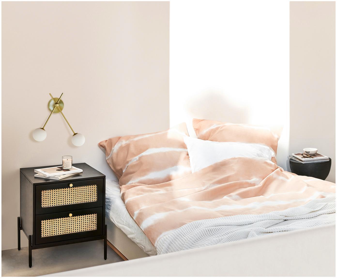 Kinkiet Moon, Osłona mocowania sufitowego i oprawa: mosiądz, szczotkowany Klosz: biały, S 39 x G 20 cm