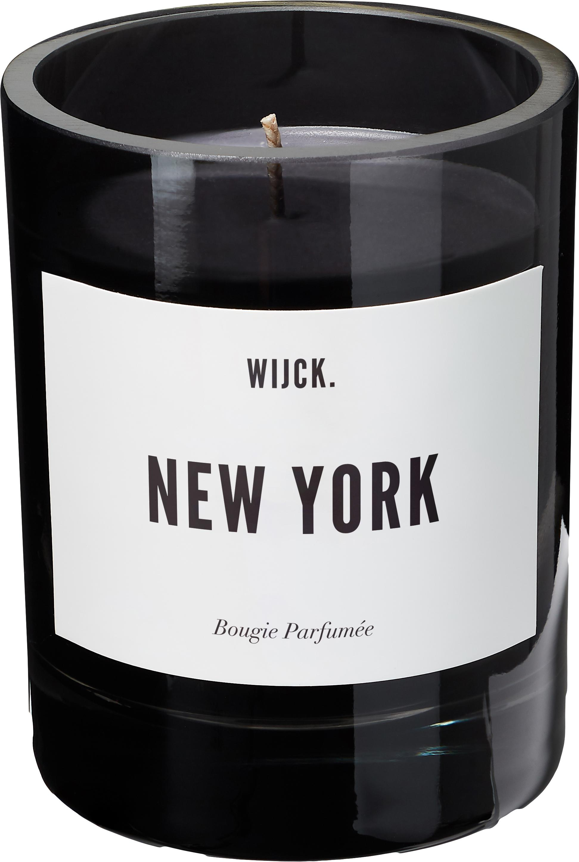 Geurkaars New York (groene citroen, rozen & hout), Houder: mondgeblazen glas, Zwart, Ø 8 x H 11 cm