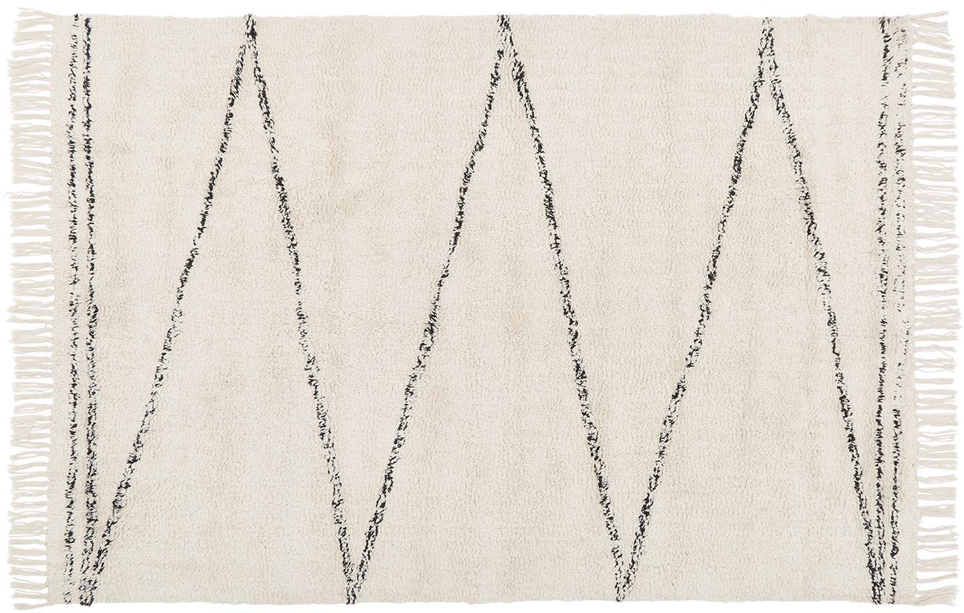 Handgetufteter Baumwollteppich Asisa mit Zickzack-Muster, Beige, Schwarz, B 120 x L 180 cm (Grösse S)