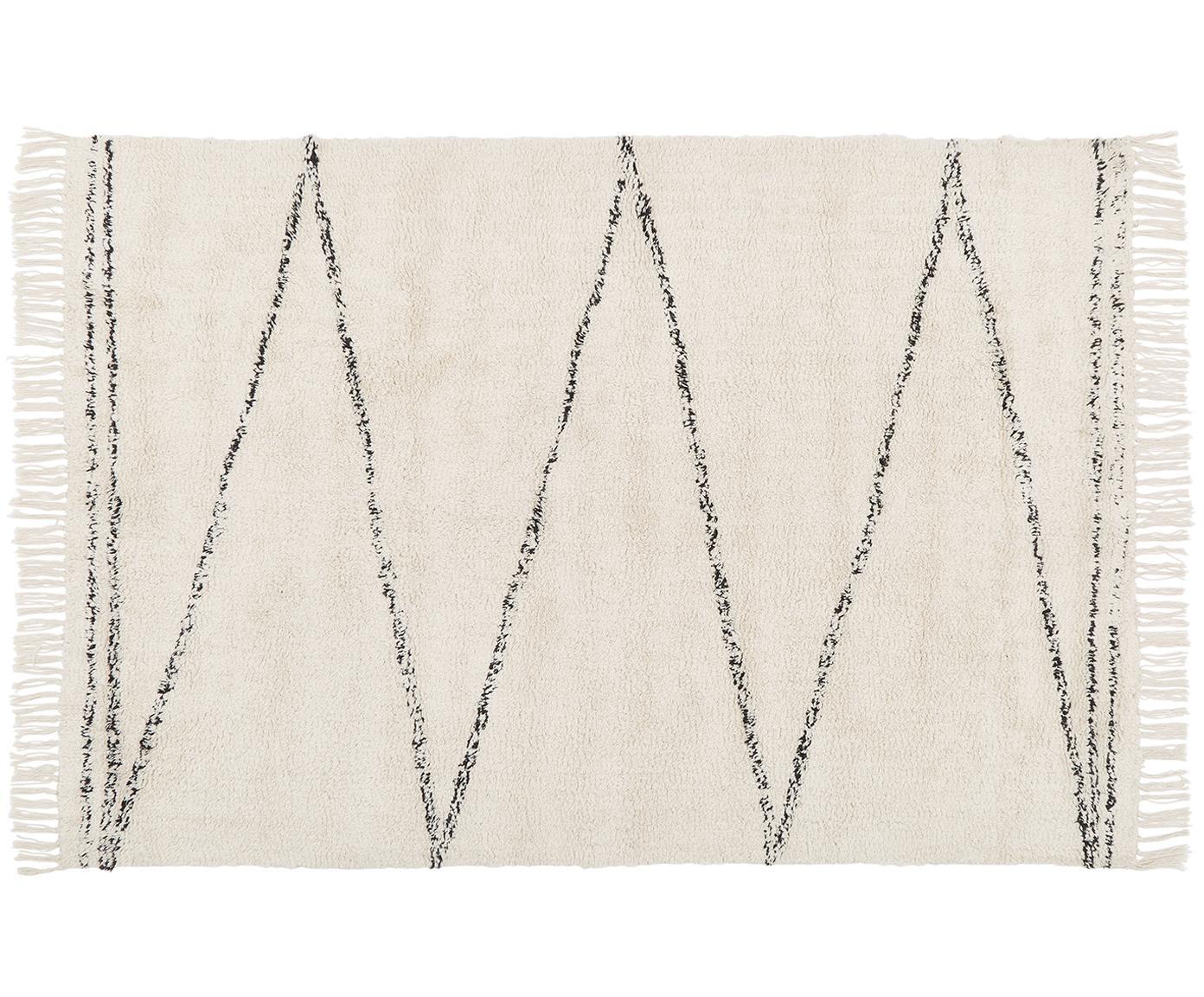 Tappeto Asisa in cotone taftato a mano con motivo a zigzag, Beige, nero, Larg. 200 x Lung. 300 cm (taglia L)