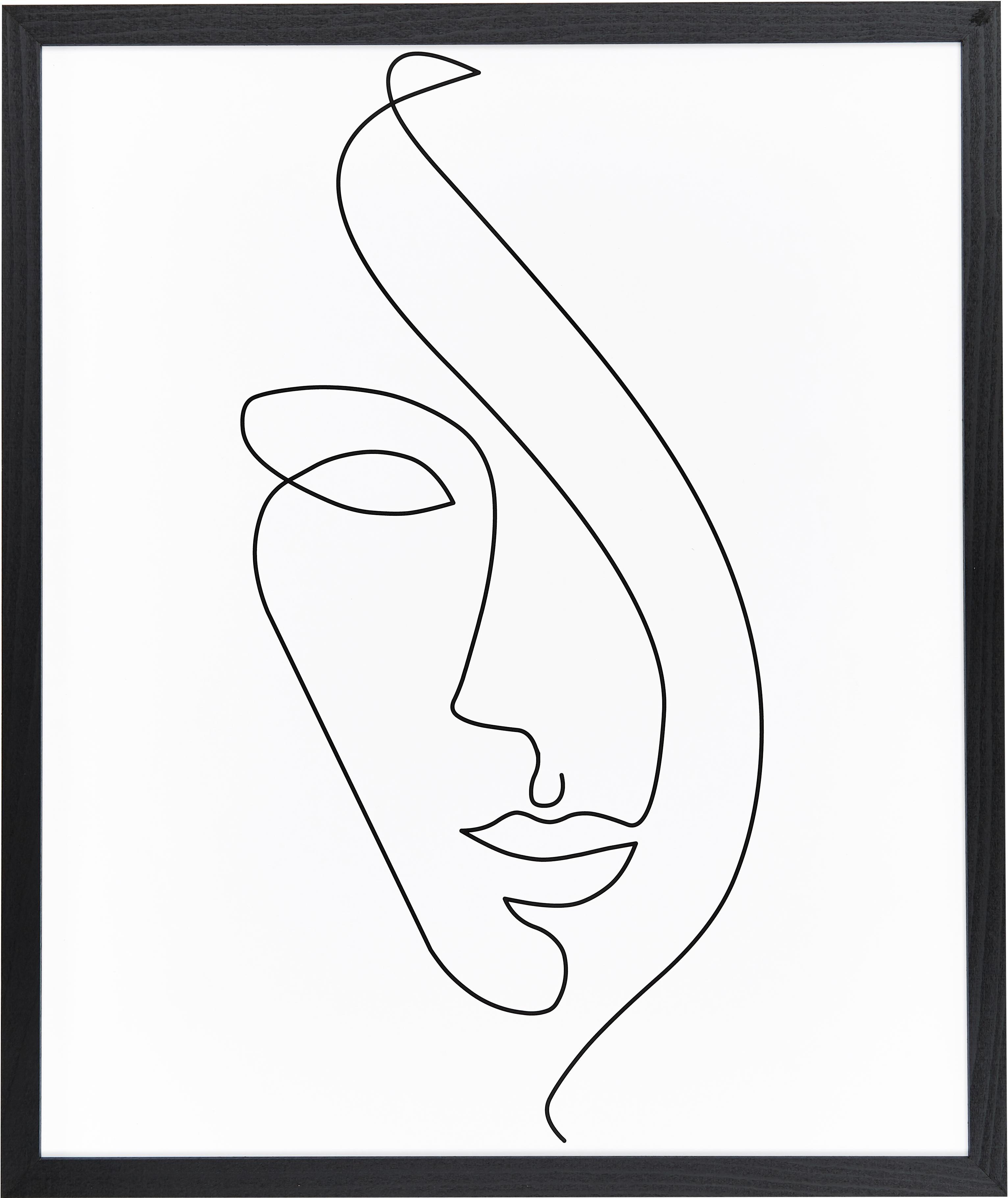 Stampa digitale incorniciata Abstract Face, Cornice: legno di faggio verniciat, Immagine: stampa digitale su carta,, Cornice: nero, Larg. 53 x Alt. 63 cm