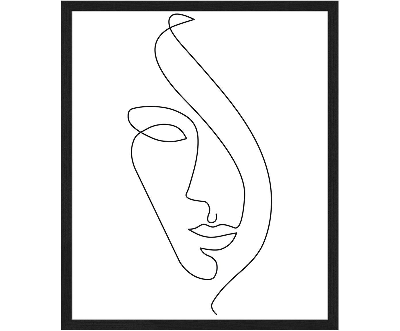 Ingelijste digitale print Abstract Face, Lijst: gelakt beukenhout, Lijst: zwart, 53 x 63 cm