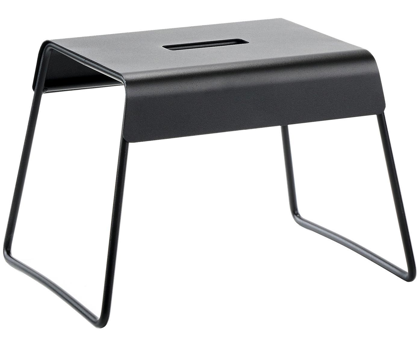Metalen kruk Aguina, Gelakt staal, Zwart, 39 x 28 cm