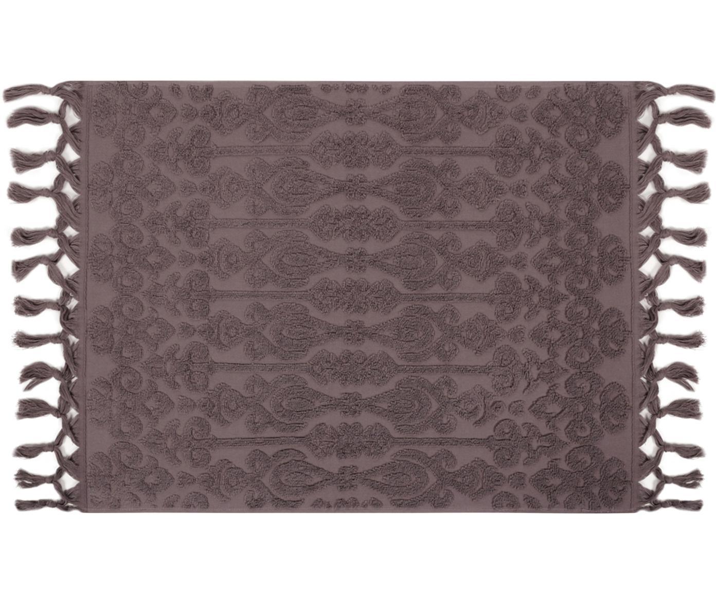 Tappeto da bagno con motivo paisley Victoria, Cotone, Grigio, Larg. 50 x Lung. 70 cm