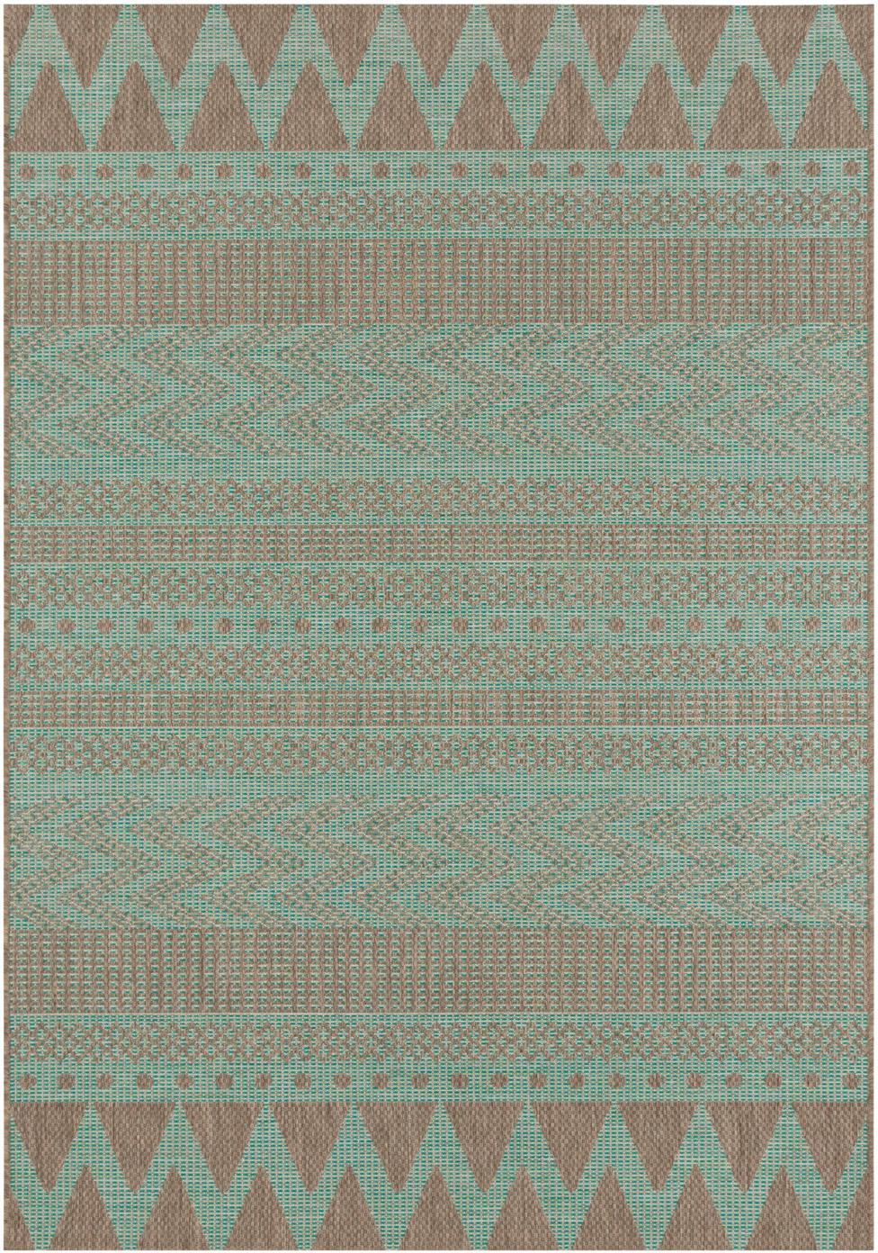 In- & outdoor vloerkleed Sidon met grafisch patroon, Polypropyleen, Groen, taupe, B 70 x L 140 cm (maat XS)