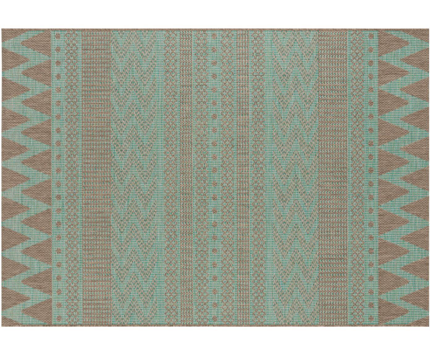 In- & Outdoor-Teppich Sidon mit grafischem Muster, 100% Polypropylen, Grün, Taupe, B 70 x L 140 cm (Größe XS)