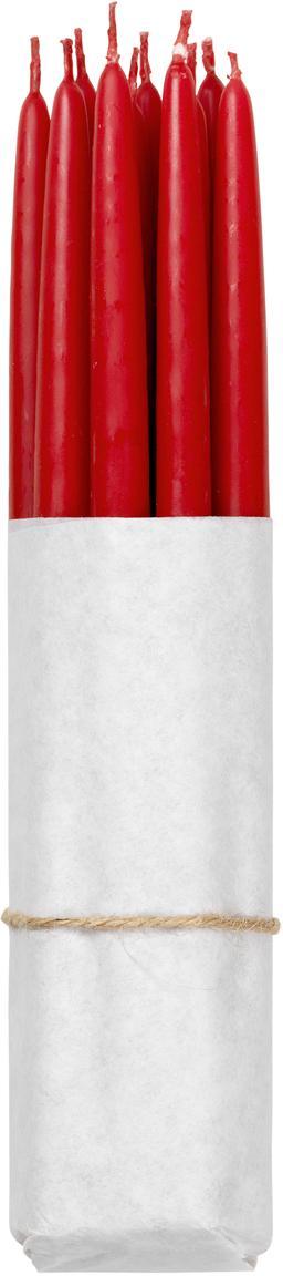 Velas cónicas Loka, 10uds., Cera, Rojo, Ø 1 x Al 21 cm