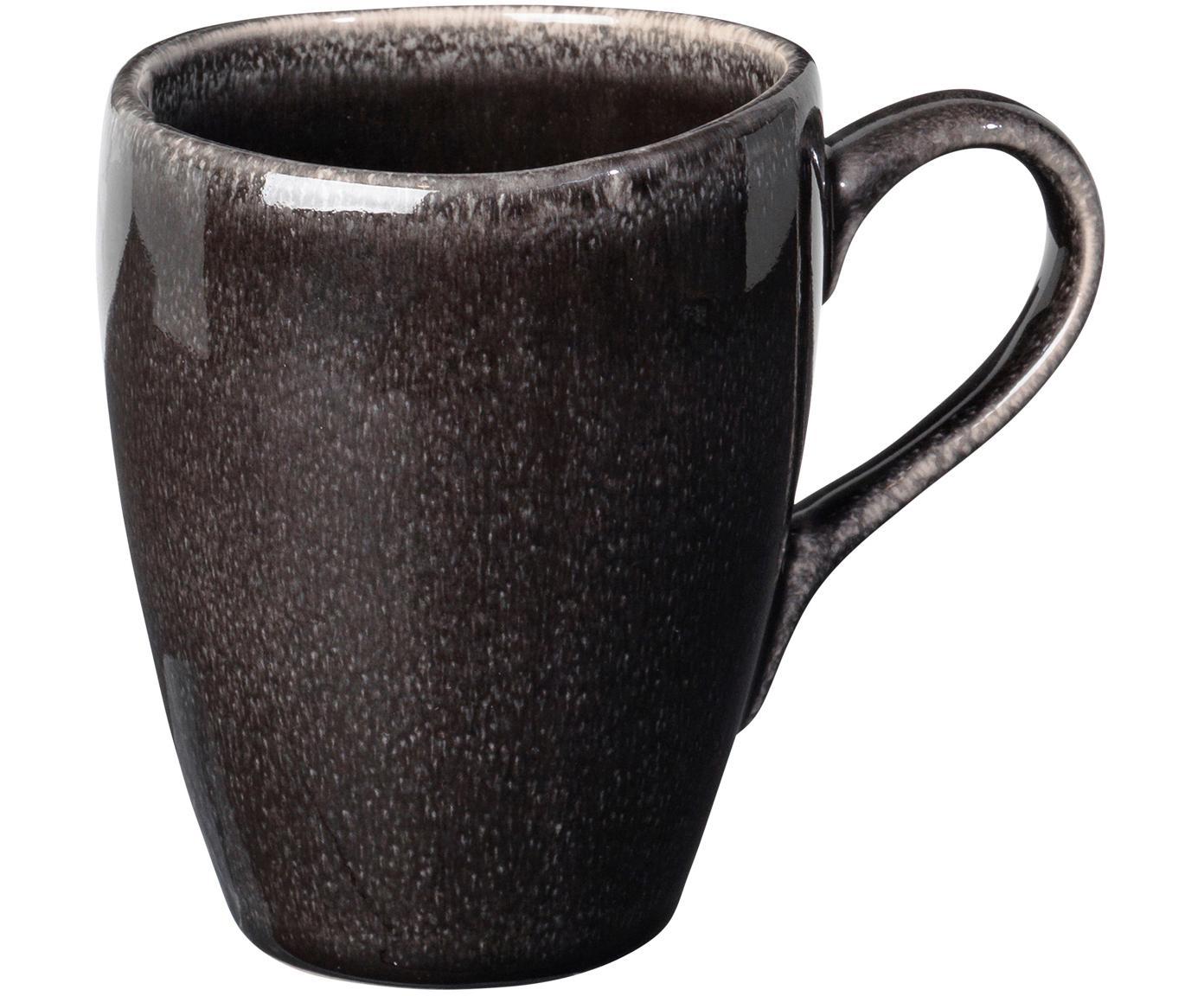 Ręcznie wykonany kubek Nordic Coal, 6 szt., Kamionka, Brązowy, Ø 8 x W 10 cm