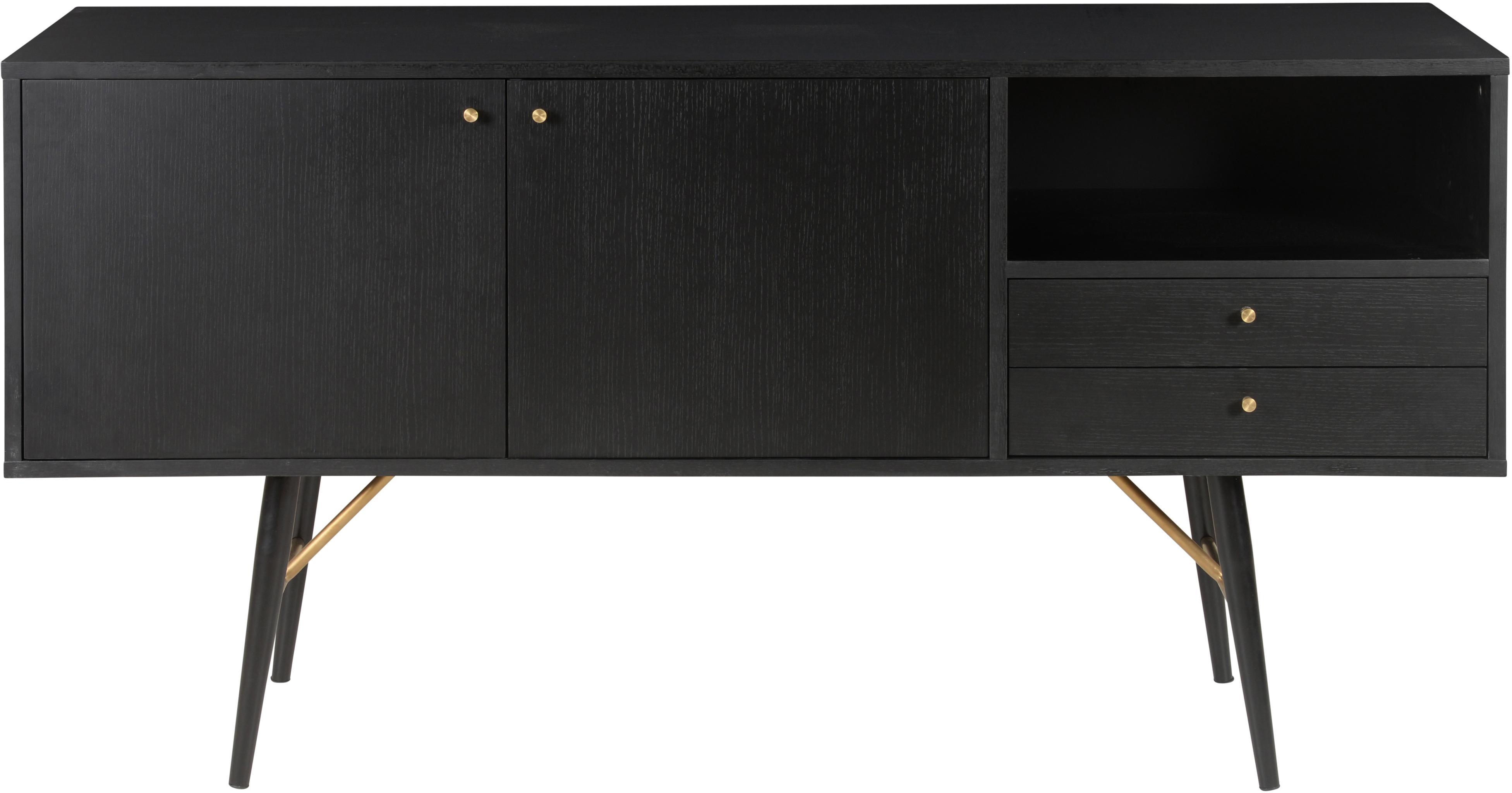 Zwart dressoir Verona, Frame: MDF met gelakt eikenhoutf, Poten: gepoedercoat metaal, Zwart, messingkleurig, 160 x 45 cm