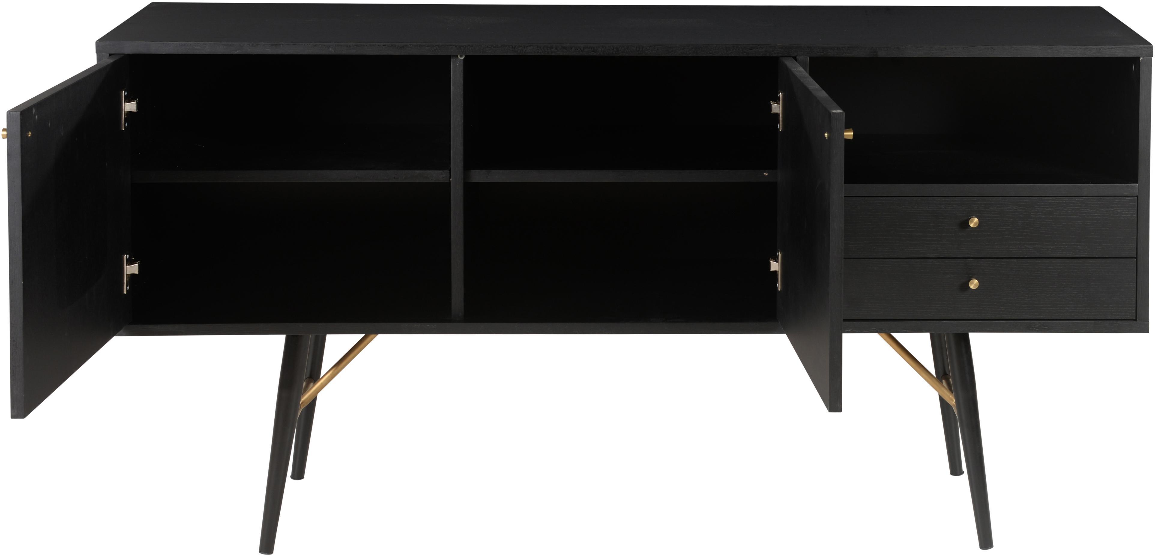 Schwarzes Sideboard Verona, Korpus: Mitteldichte Holzfaserpla, Beine: Metall, pulverbeschichtet, Schwarz, Messing, 160 x 45 cm