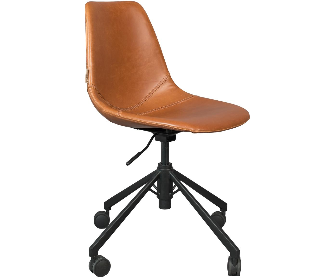 Biurowe krzesło obrotowe ze sztucznej skóry Franky, Tapicerka: sztuczna skóra (poliureta, Nogi: metal malowany proszkowo, Brązowy, S 68 x G 68 cm