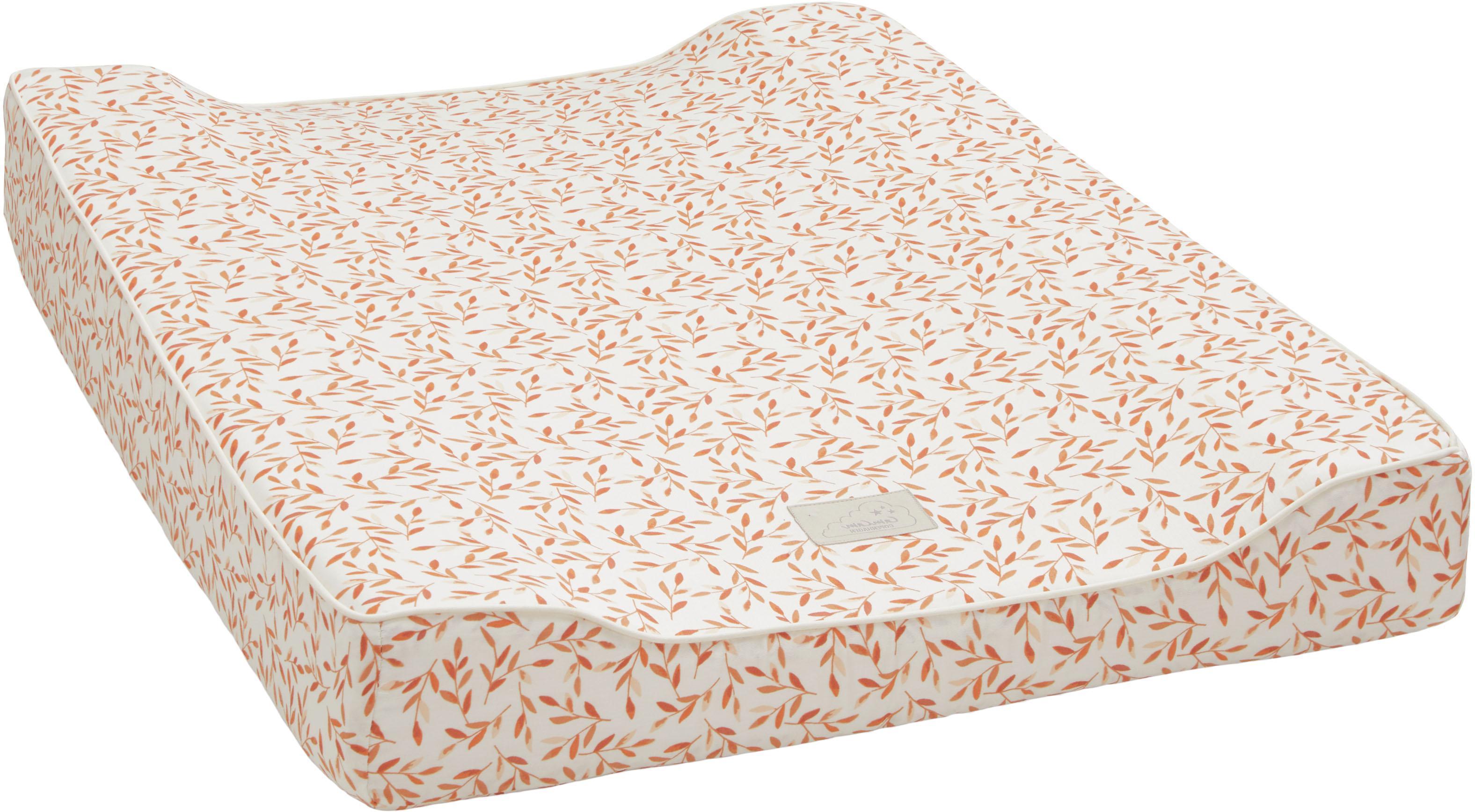 Colchón cambiador de algodón ecológico Leaves, Funda: 100%algodón ecológico, c, Crema, naranja, An 50 x L 65 cm