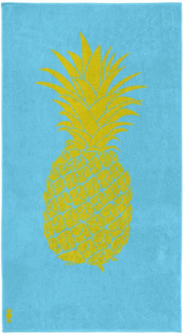 Strandtuch Ananas, 100% Velours (Baumwolle) mittelschwere Stoffqualität, 420g/m², Hellblau, Gelb, 100 x 180 cm
