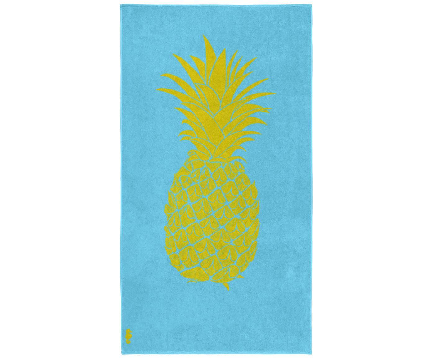 Telo mare Ananas, 100% Velour (cotone) Qualità del tessuto di peso medio, 420g/m², Azzurro, giallo, Larg. 100 x Lung. 180 cm