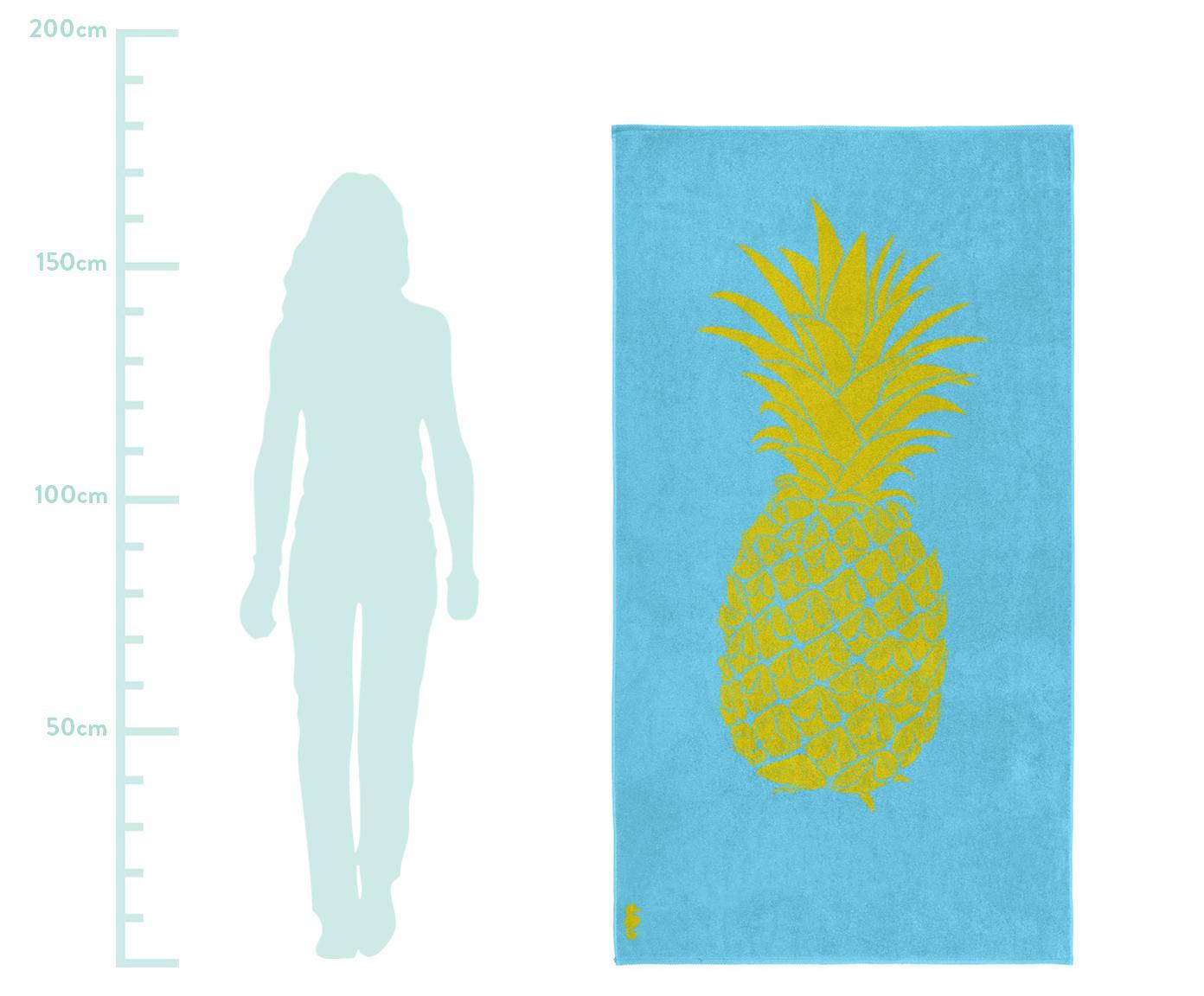 Ręcznik plażowy Ananas, 100% welur (bawełna) Średnia gramatura, 420g/m², Jasny niebieski, żółty, S 100 x D 180 cm