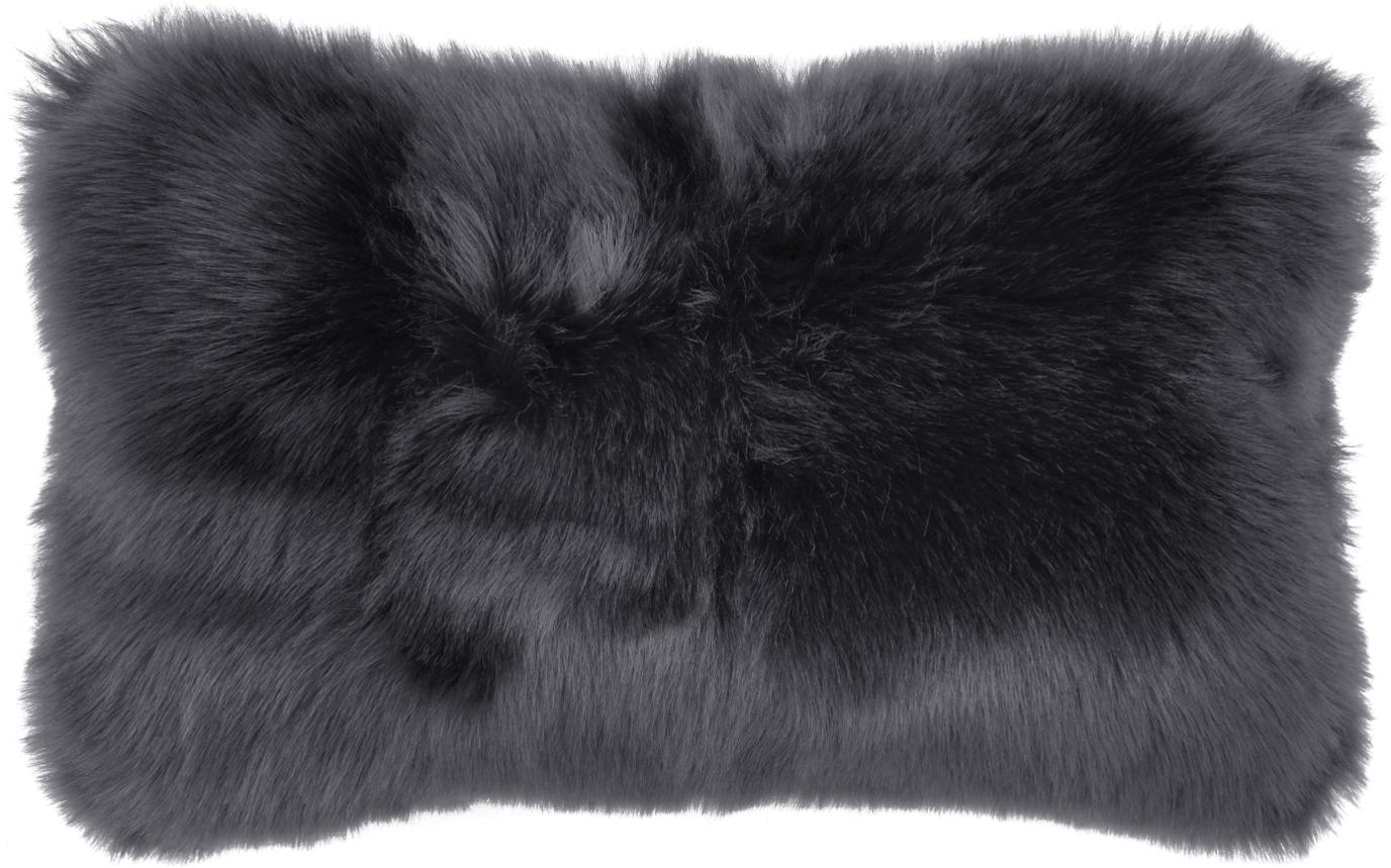 Flauschige Kunstfell-Kissenhülle Mathilde, glatt, Vorderseite: 67% Akryl, 33% Polyester, Rückseite: 100% Polyester, Dunkelgrau, 30 x 50 cm