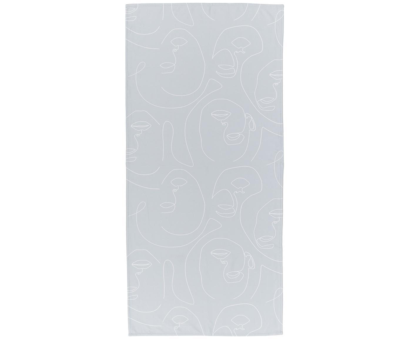 Leichtes Strandtuch Faces mit abstrakter One Line Zeichnung, 55% Polyester, 45% Baumwolle Sehr leichte Qualität, 340 g/m², Grau, Weiss, 70 x 150 cm
