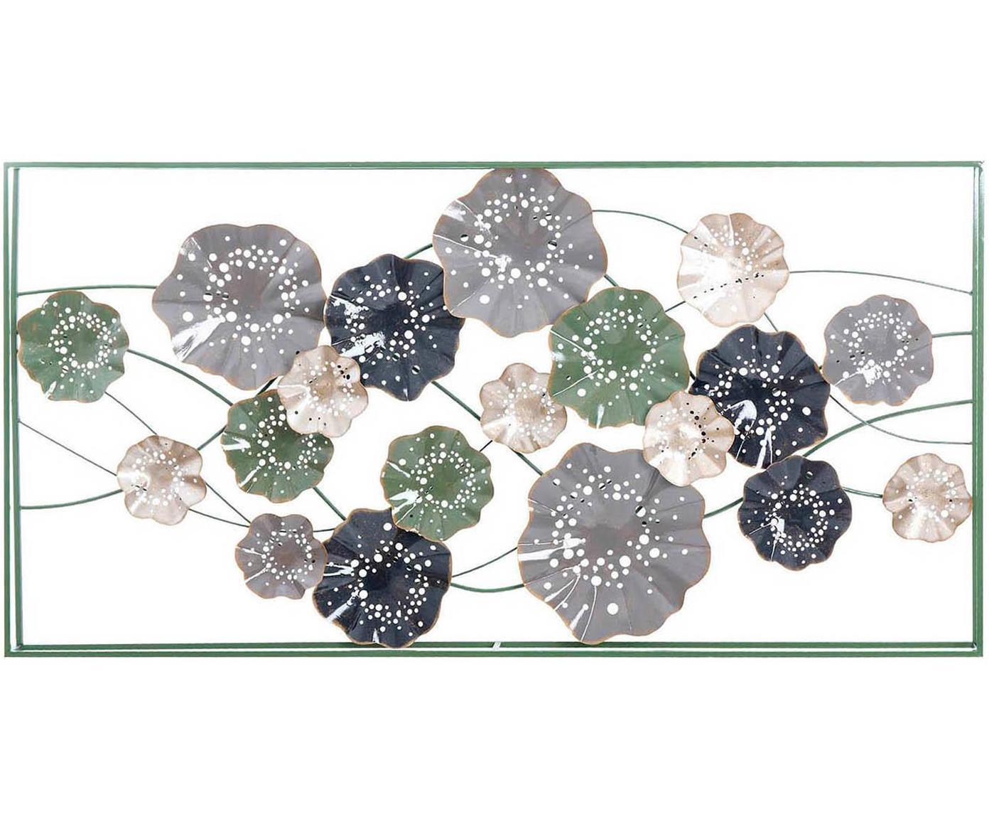 Decoración de pared Flower, Metal, Gris, verde, An 153 x Al 77 cm