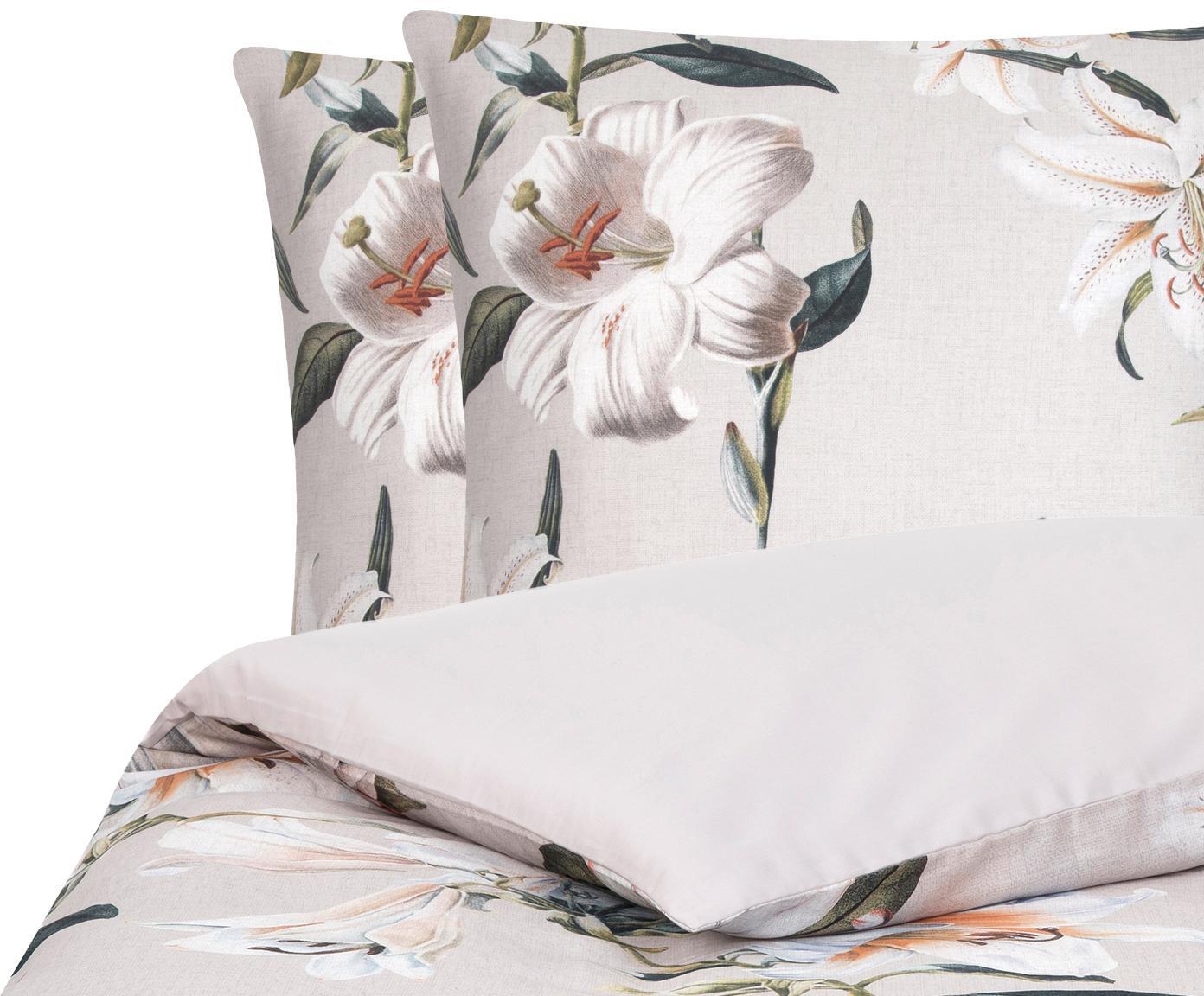 Baumwollsatin-Bettwäsche Flori mit Blumen-Print, Webart: Satin Fadendichte 210 TC,, Vorderseite: Beige, CremeweißRückseite: Beige, 240 x 220 cm + 2 Kissen 80 x 80 cm