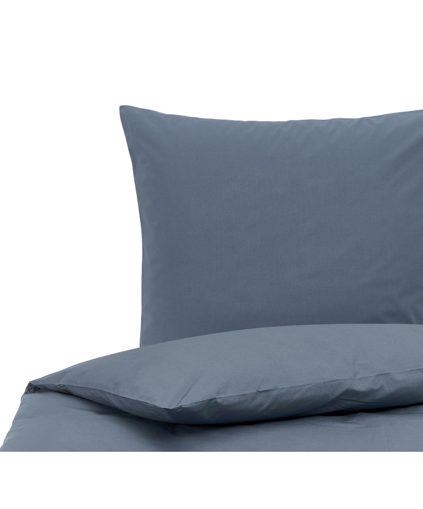 Pościel z perkalu bawełnianego Elsie, Niebieski, 135 x 200 cm