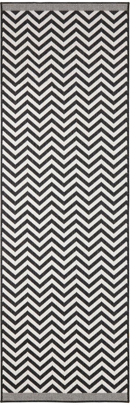 In- & Outdoor-Läufer Palma mit Zickzack-Muster, beidseitig verwendbar, Schwarz, Creme, 80 x 250 cm